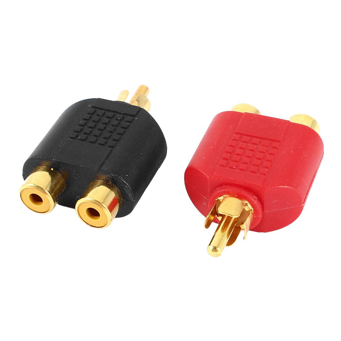 2 Pcs RCA Male to 2 Female AV Audio Video Y Splitter Converter Adapter