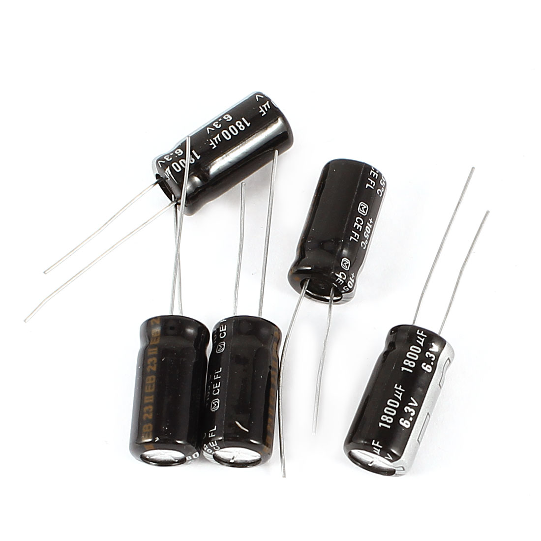 5 Pcs 1800uF DC 6.3V Radial Electrolytic Capacitor 8x16mm