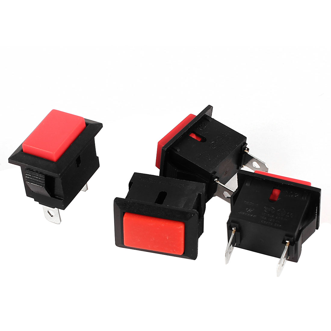 4 Pcs Panel Mount SPST Non-locking Red Push Button Switch AC 250V 6A 125V 10A