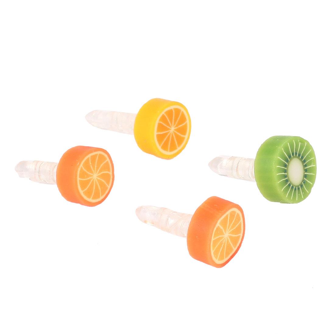 4 Pcs Lovely Fruit 3.5mm Anti Dust Dustproof Earphone Headphone Stopper Cap Green Orange
