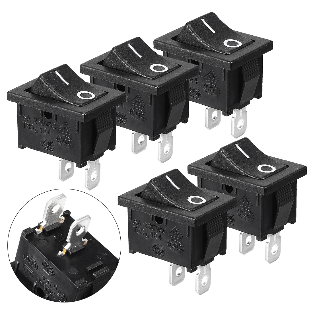 5 Pcs KCD1-101 SPST ON/OFF AC 250V/6A 125V/10A Power Rocker Switches Black
