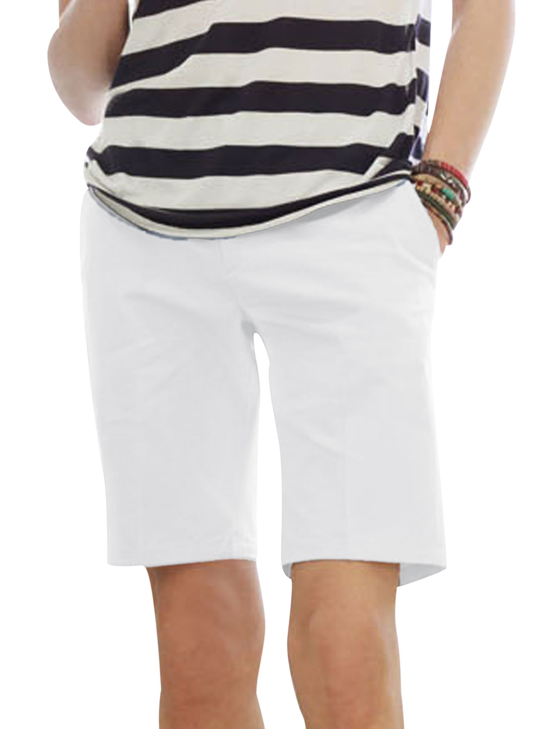 Man's Zip Fly Single Button Closure Hip Pockets Shorts White W28