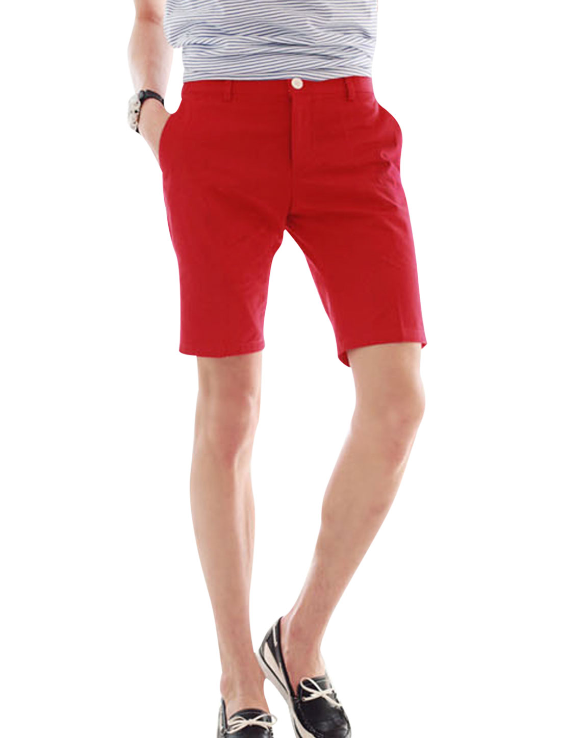 Men Zip Fly Slant Front Pockets Mid Rise Casual Shorts Red W28