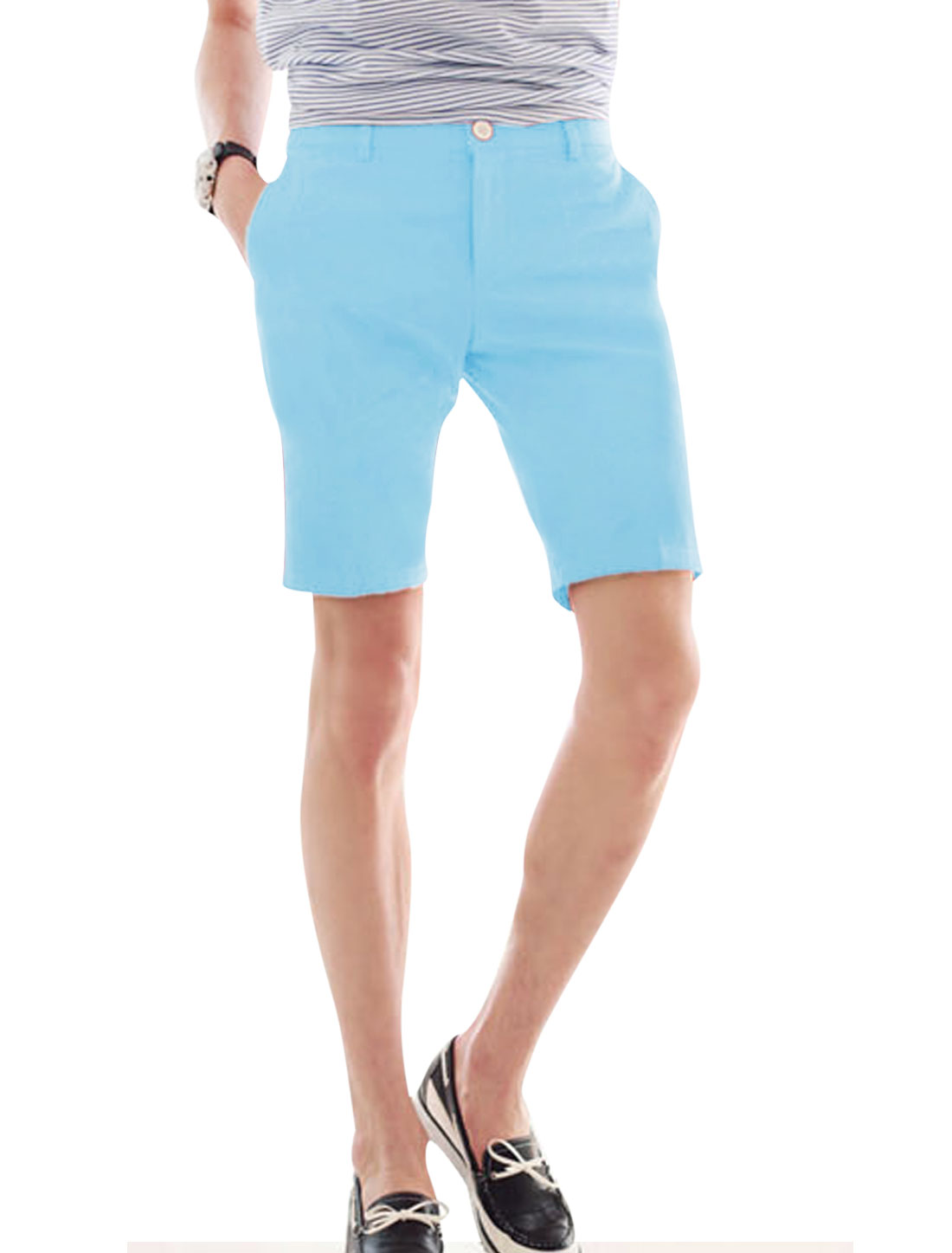 Men's Zip Fly Front Hip Pockets Mid Rise Belt Loop Shorts Light Blue W28