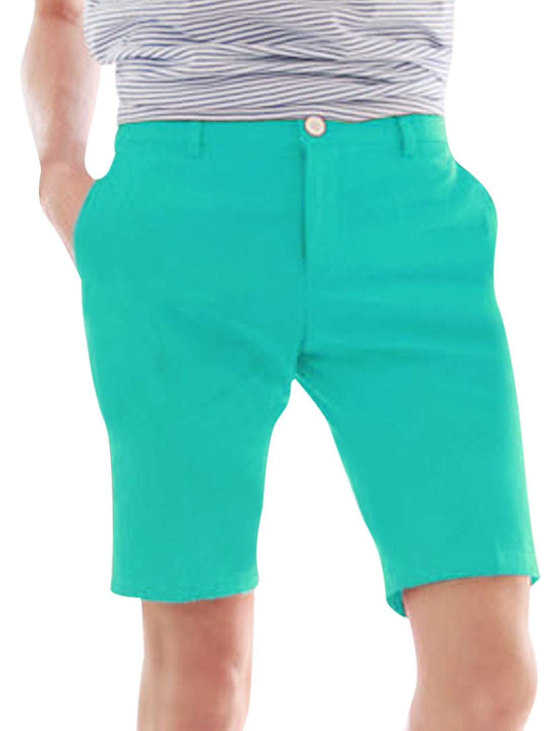 Man Slant Front Pockets Hip Pockets Casual Zip Fly Shorts Green W28