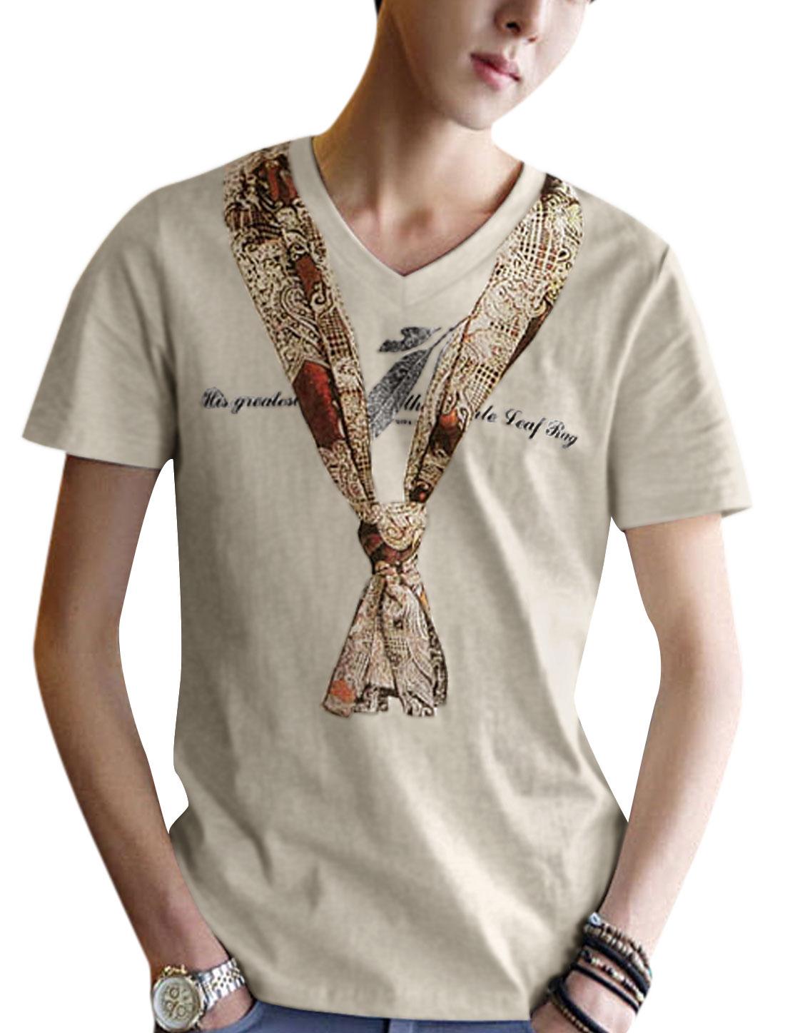 Man's Scarf Print V Neck Short Sleeve Pullover Tee Shirt Light Khaki M