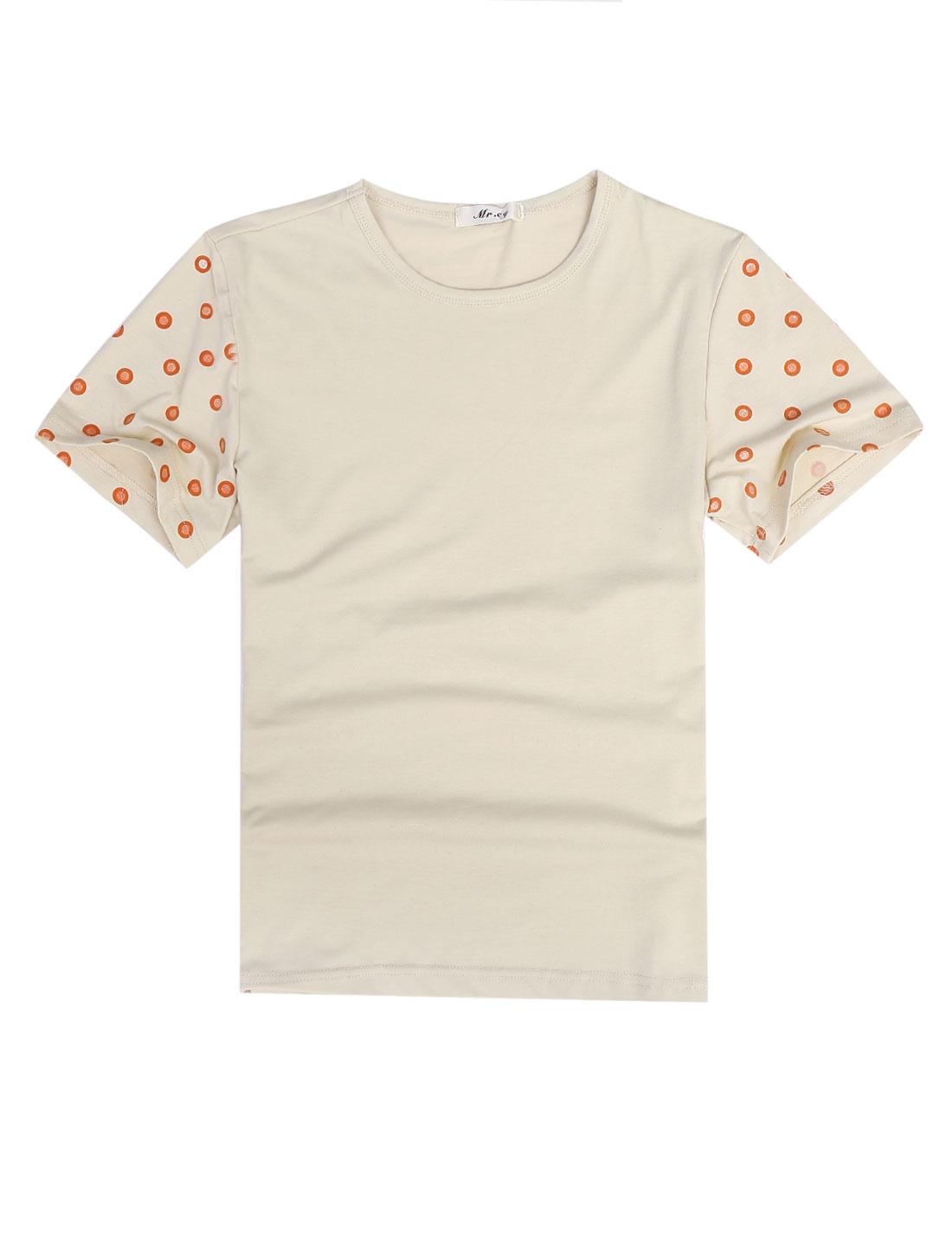 Man Dots Print Short Sleeve Pullover Casual Tee Shirt Khaki M