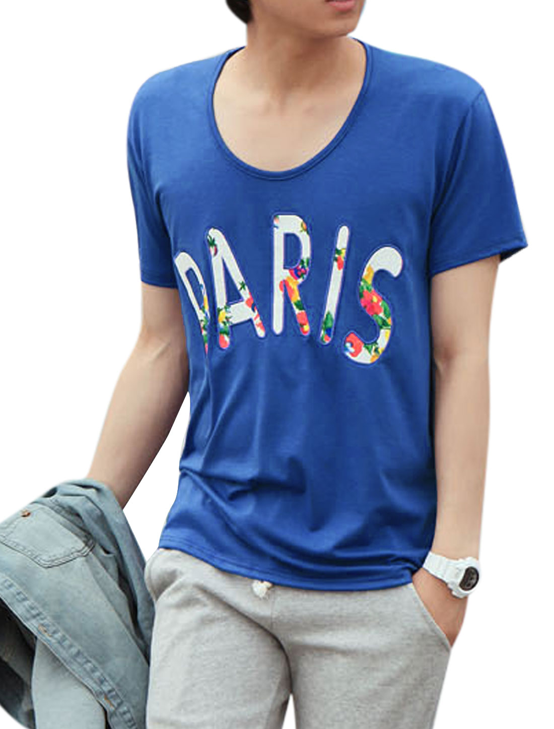 Men Letter Print Short Sleeve Casual Tee Shirt Blue M