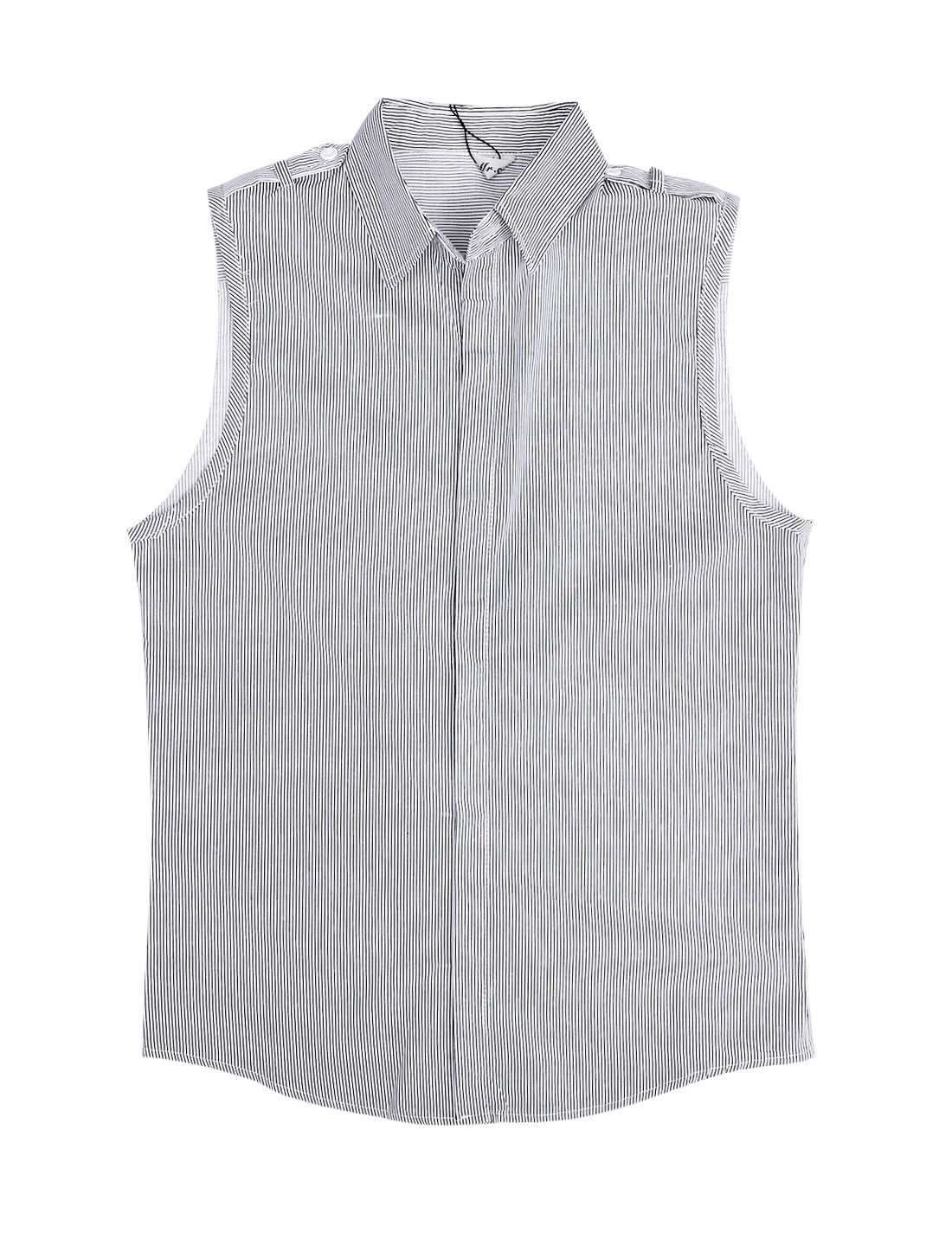 Men Point Collar Sleeveless Single Breasted Stripes Shirt Black White M