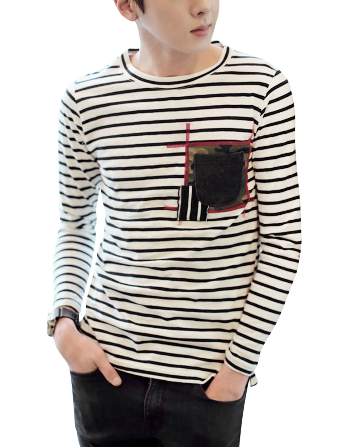 Men Round Neck Long Sleeve Stripes Chest Pocket Panel Tee Black White M