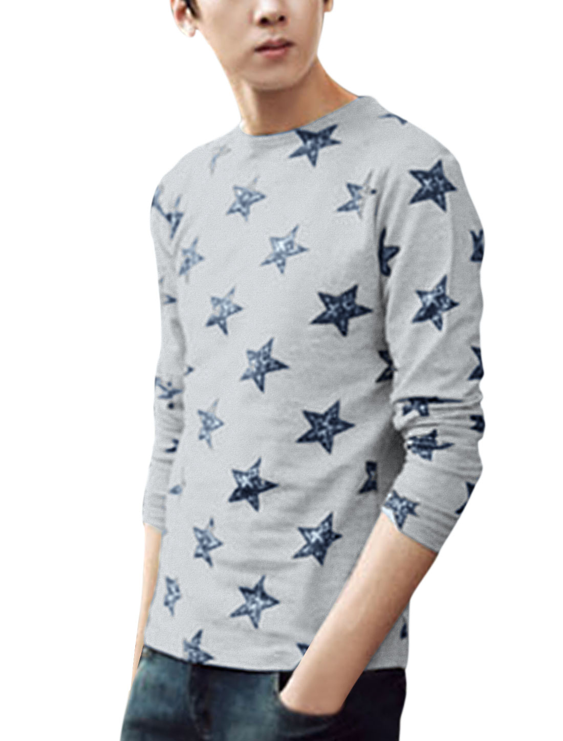 Men Round Neck Long Sleeve Stars Prints T-Shirt Gray M