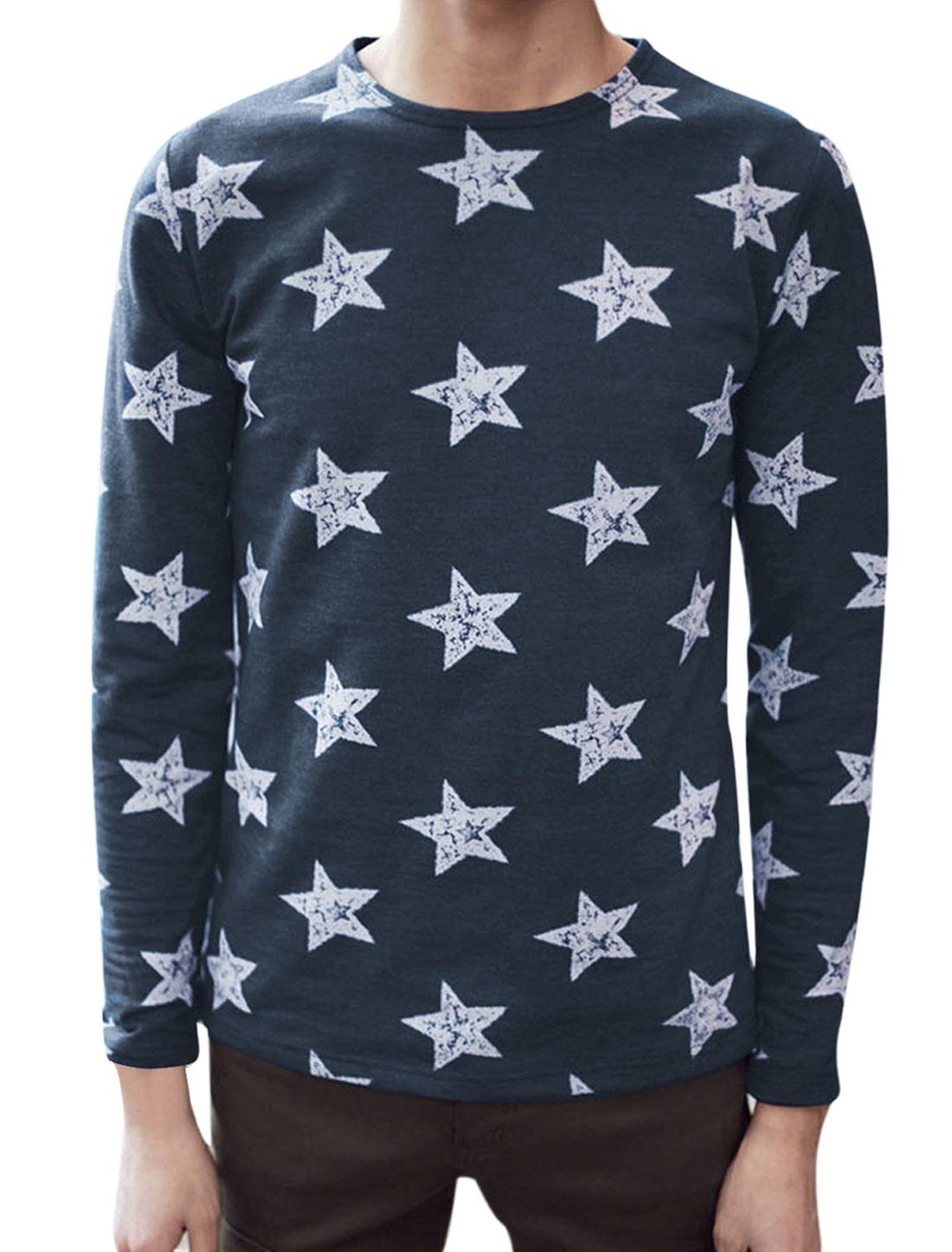 Men Slipover Round Neck Long Sleeve Stars Prints T-Shirt Navy Blue M