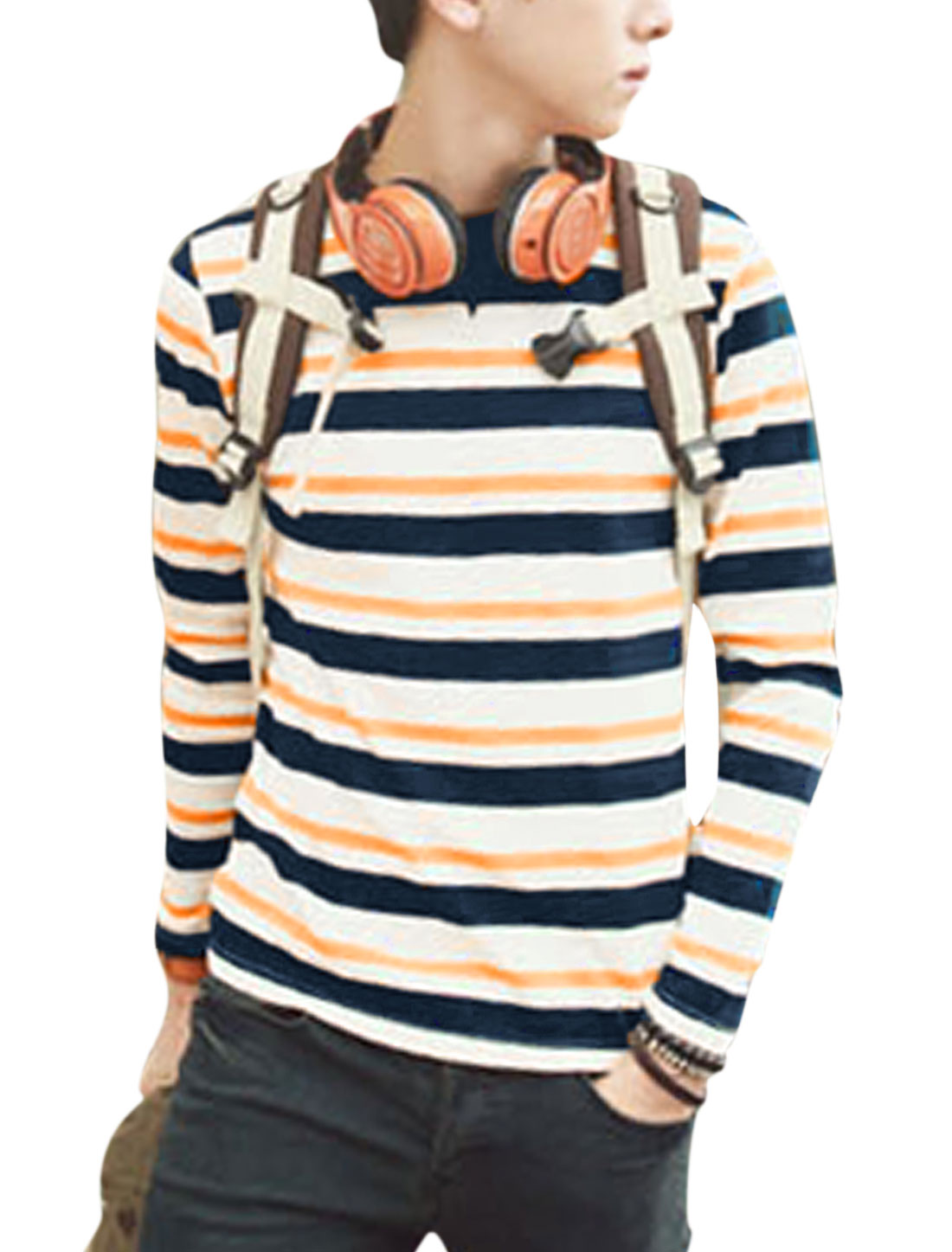 Men Round Neck Long Sleeve Bar Striped Casual T-Shirt White Orange M