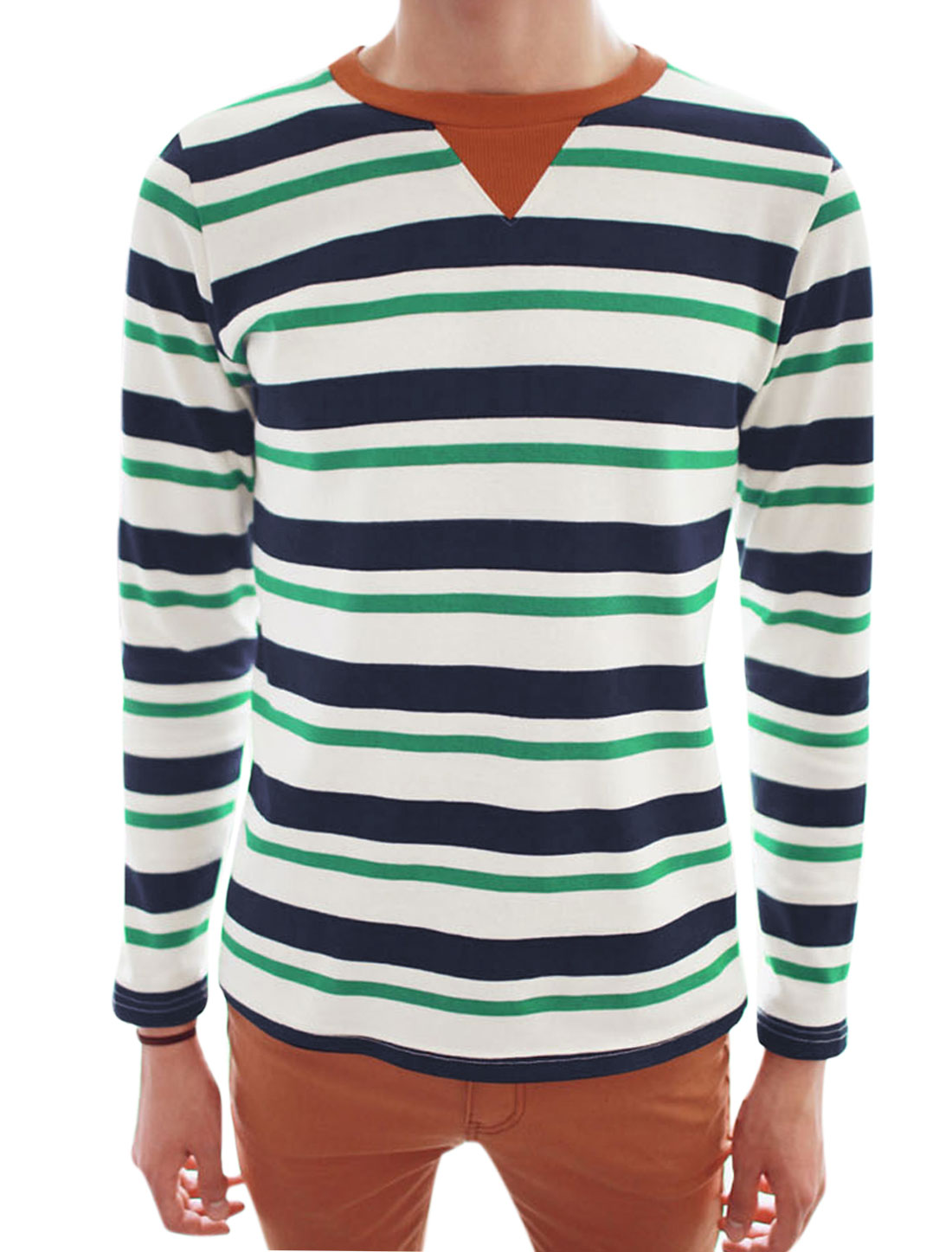 Men Pullover Round Neck Long Sleeve Stripes Casual T-Shirt White Green M