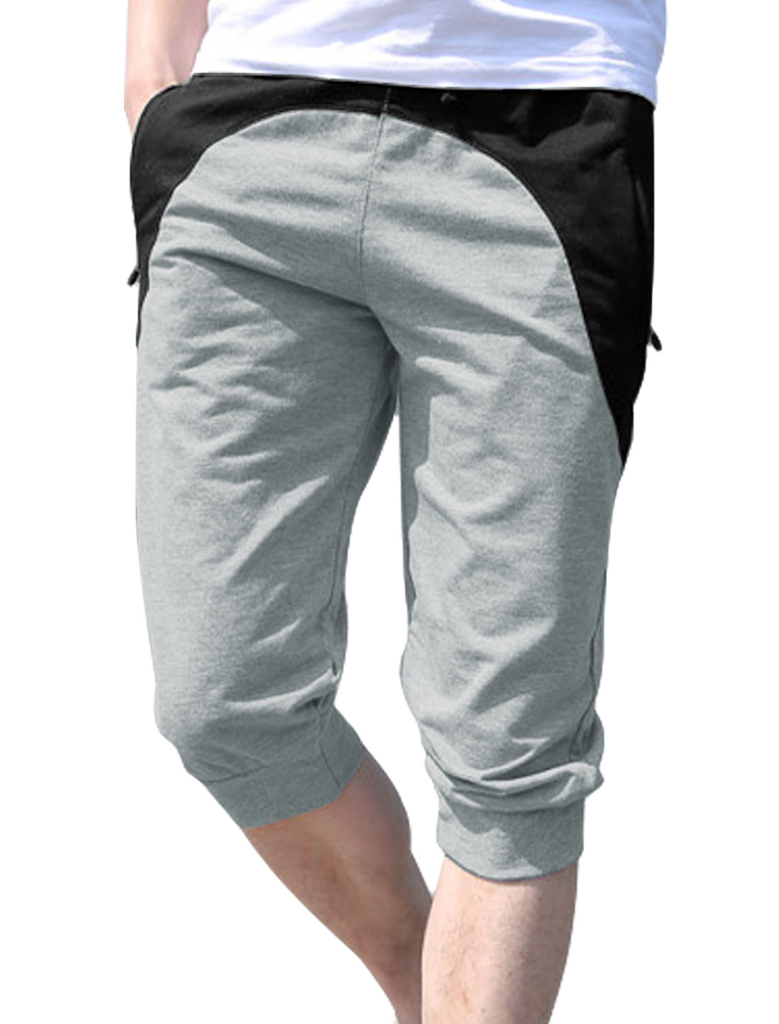 Men Elastic Waist Zipped Pockets Front Colorblock Capris Pants Light Gray W30
