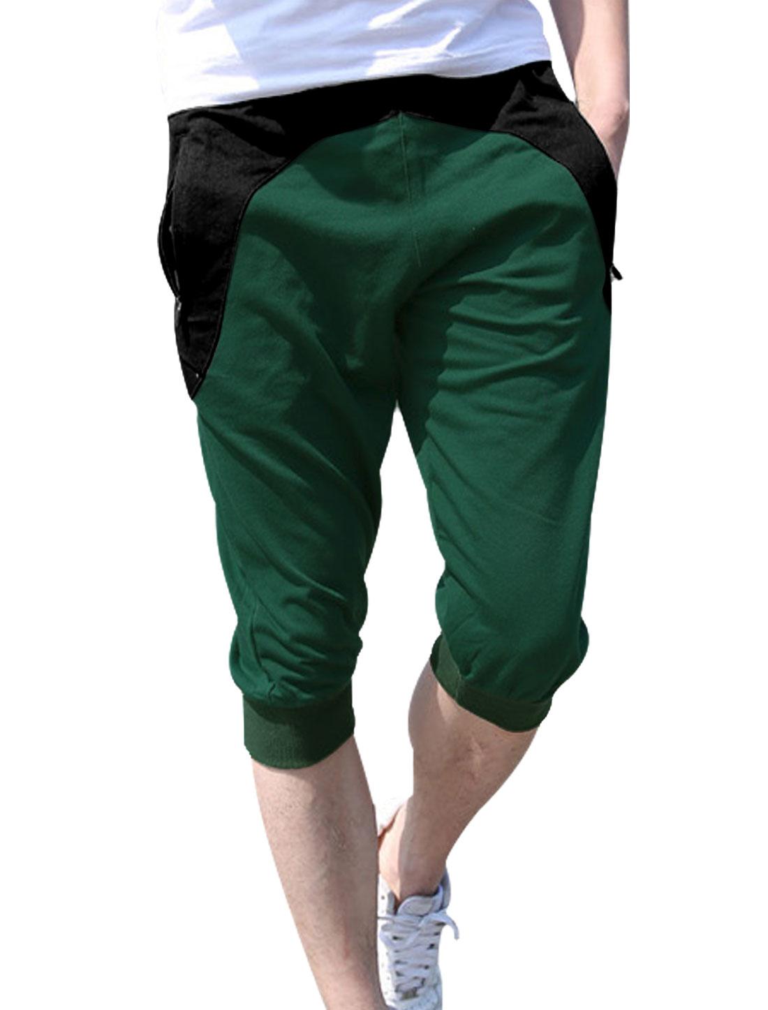 Men Elastic Drawstring Waist Zip-Up Pockets Capris Pants Dusty Green W30