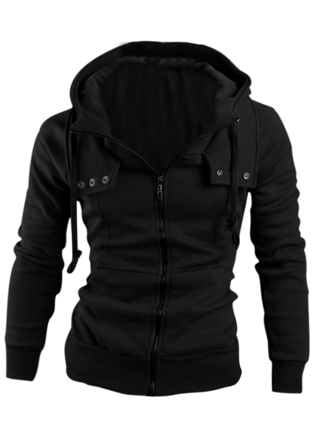 Men's Zip Up Front Pockets Drawstring Hooded Jacket Black M