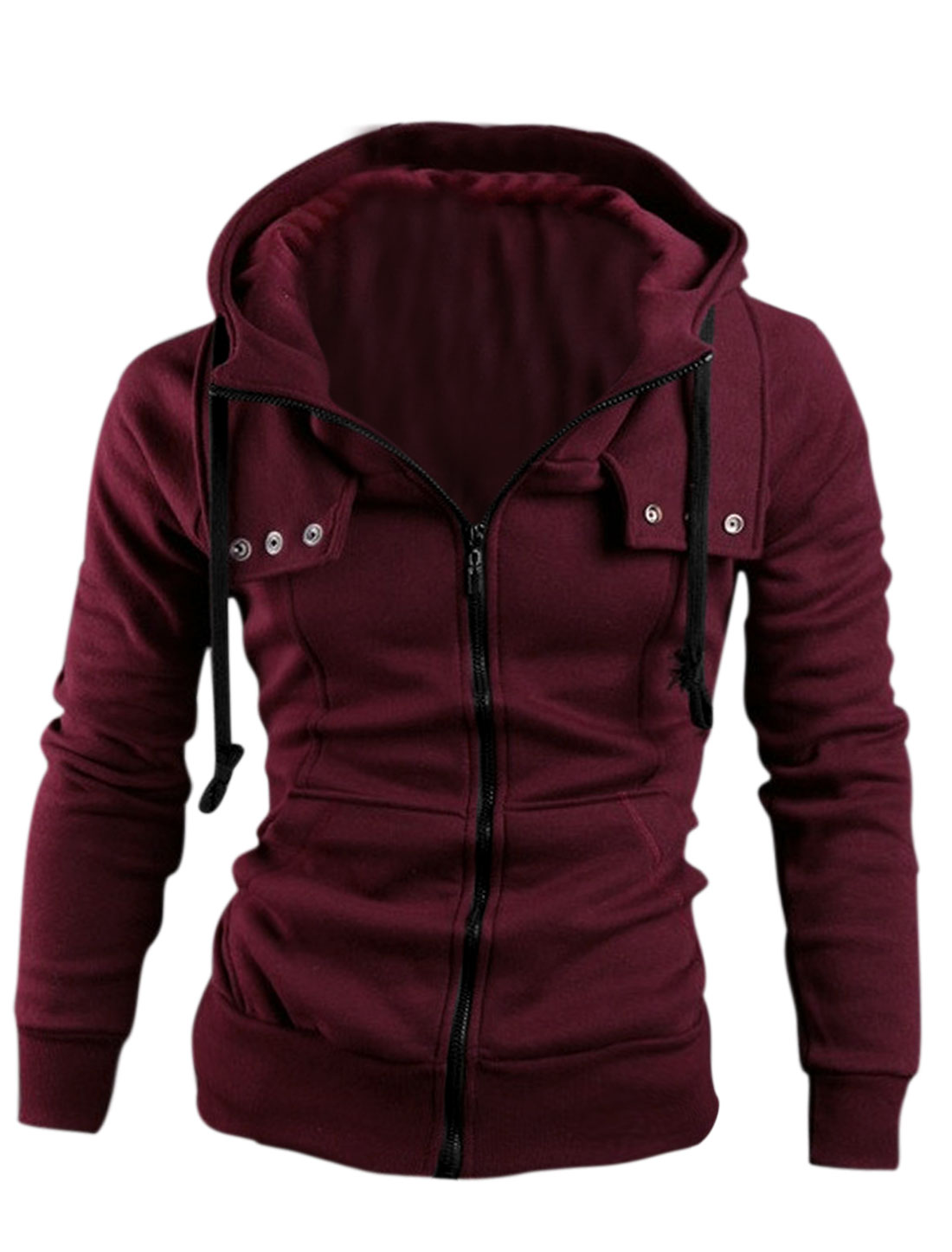 Man's Long Sleeve Zip Up Front Pockets Drawstring Hoodie Burgundy M
