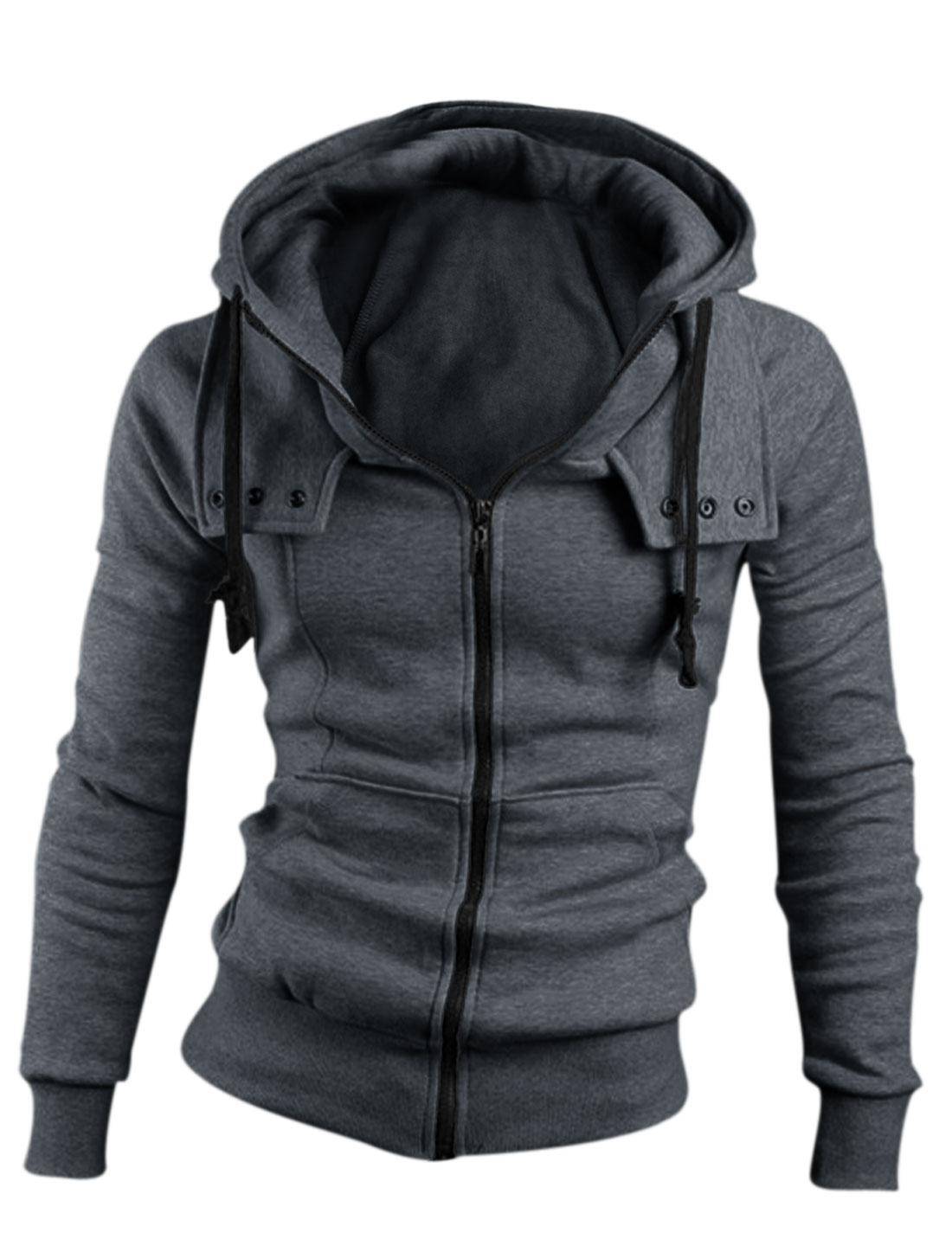 Man Front Pockets Zipper Closure Drawstring Hooded Jacket Dark Gray M