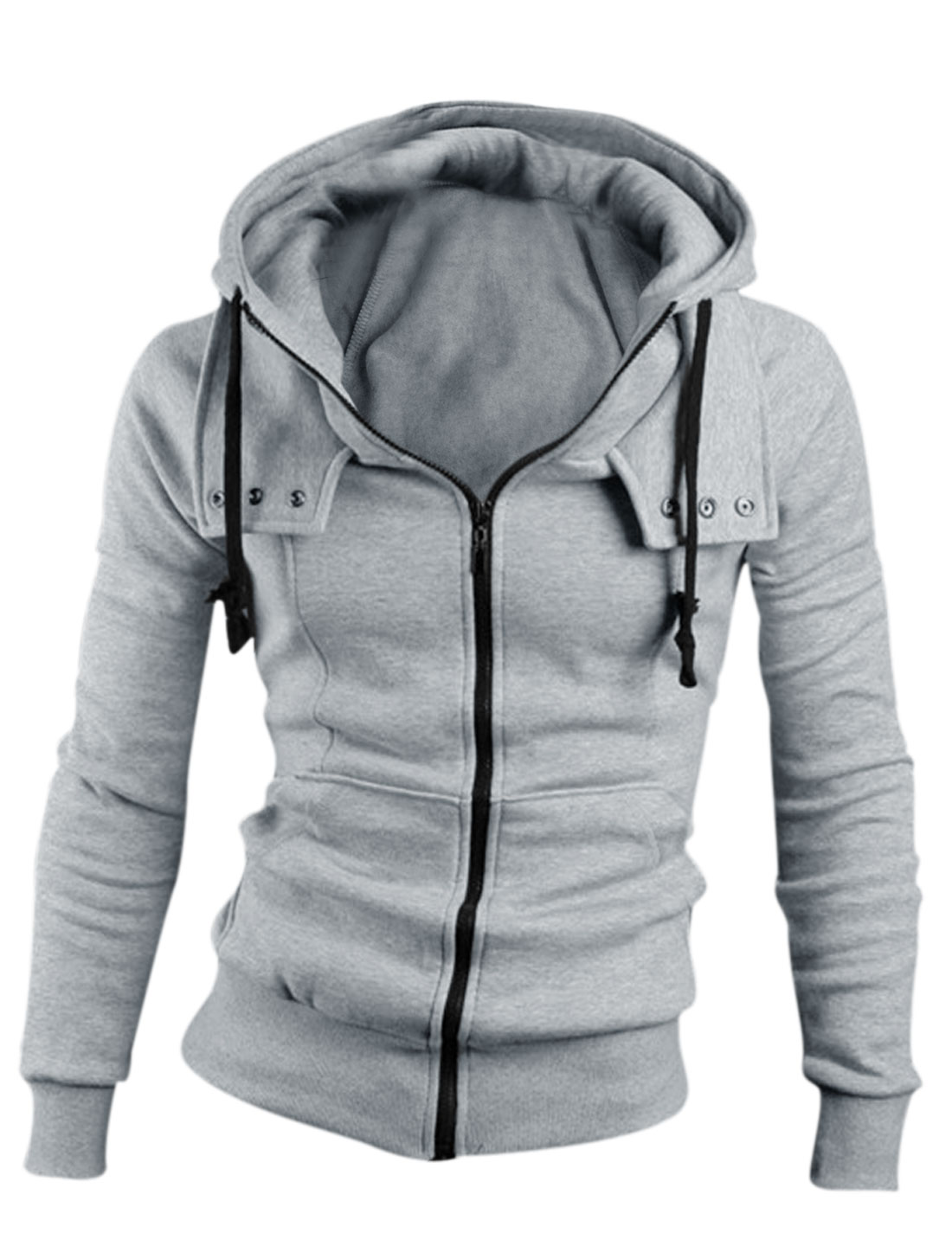 Men Zip Up Long Sleeve Front Pockets Drawstring Hoodie Light Gray M