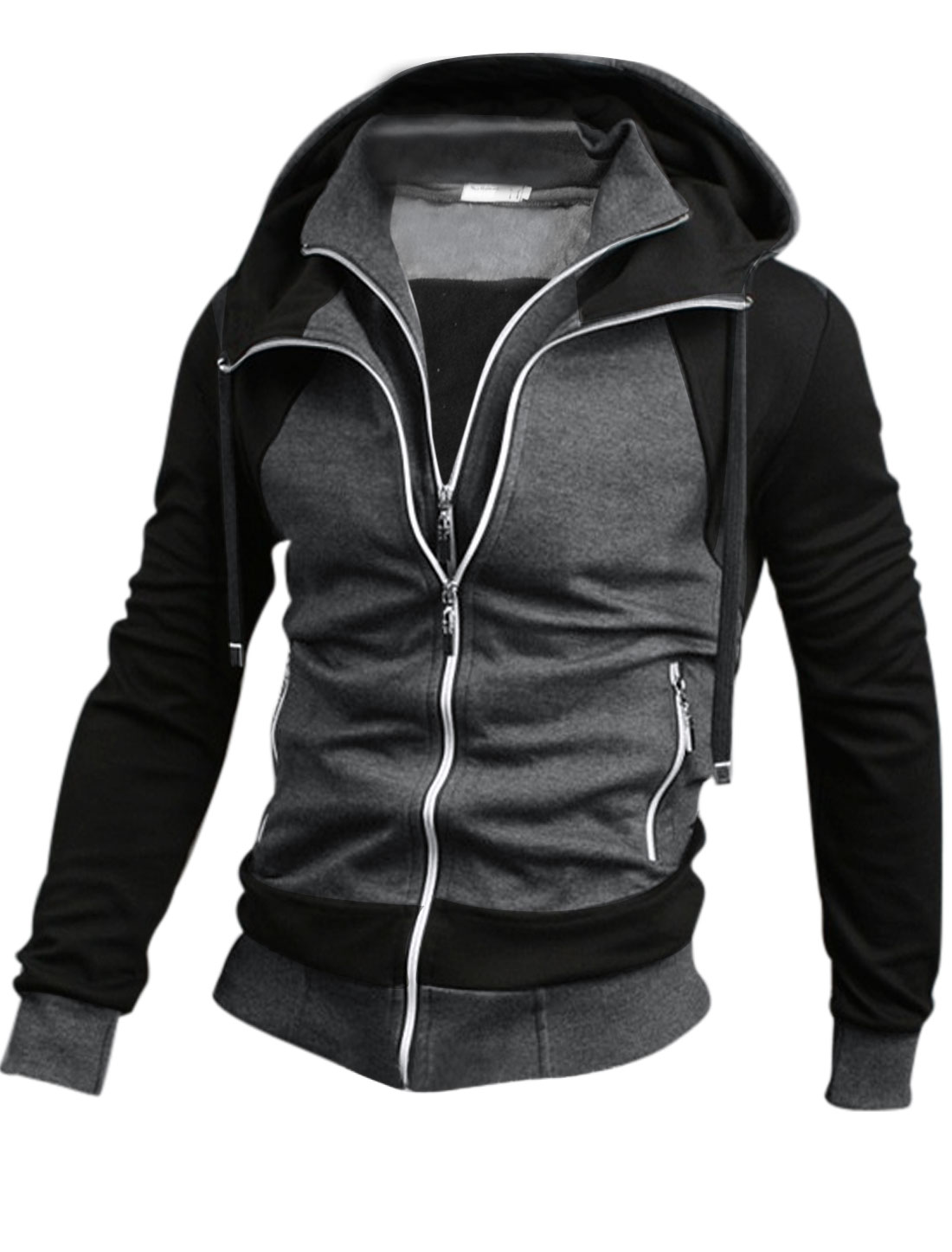 Man's Zipper Closure Stand Collar Long Sleeve Hooded Jacket Black Dark Gray M