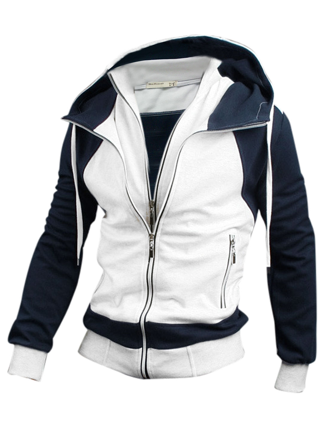 Men Zip Up Front Pockets Stand Collar Drawstring Hoodie White Dark Blue M