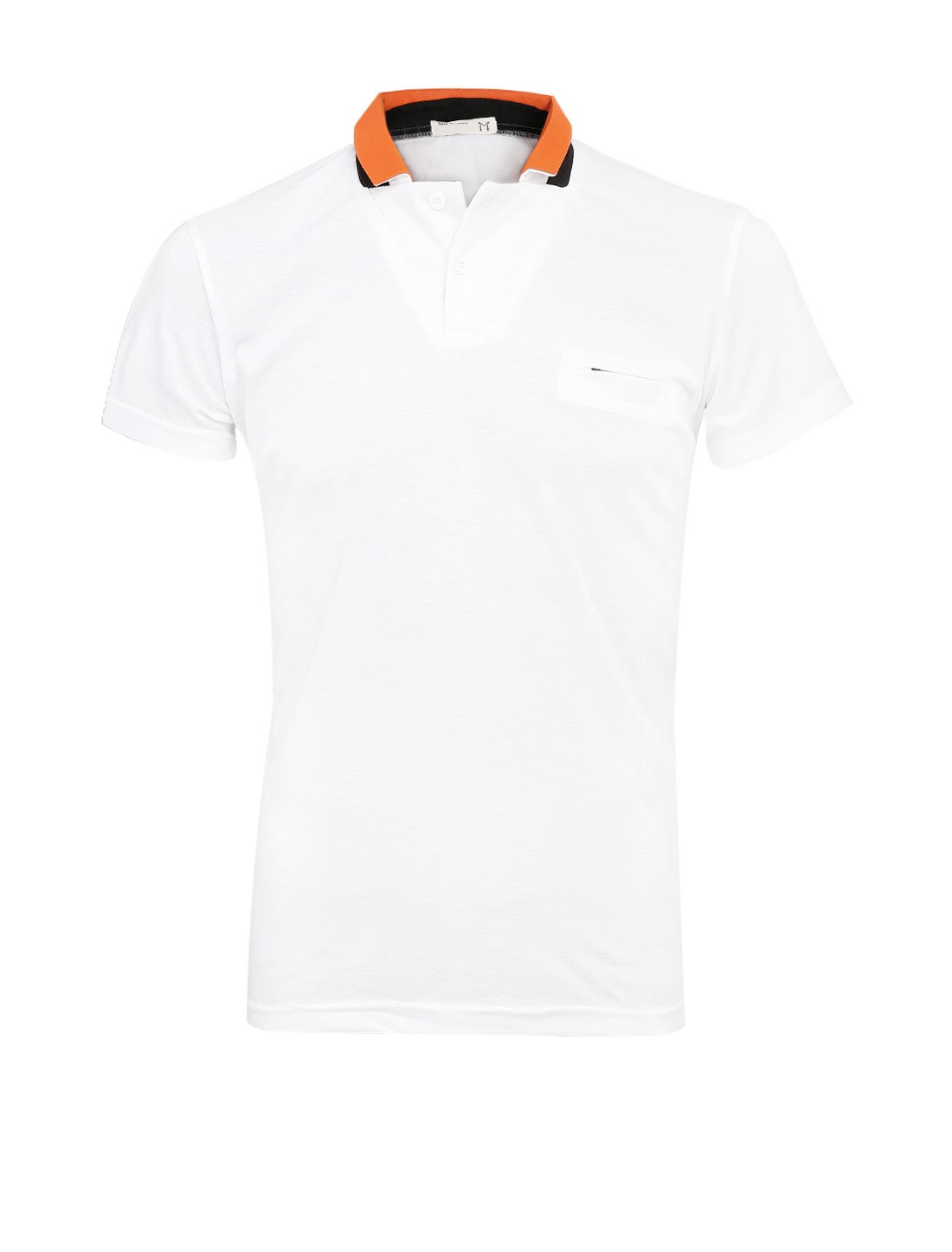 Men Two Buttons Closed Fake Welt Chest Pocket Polo Shirt White M