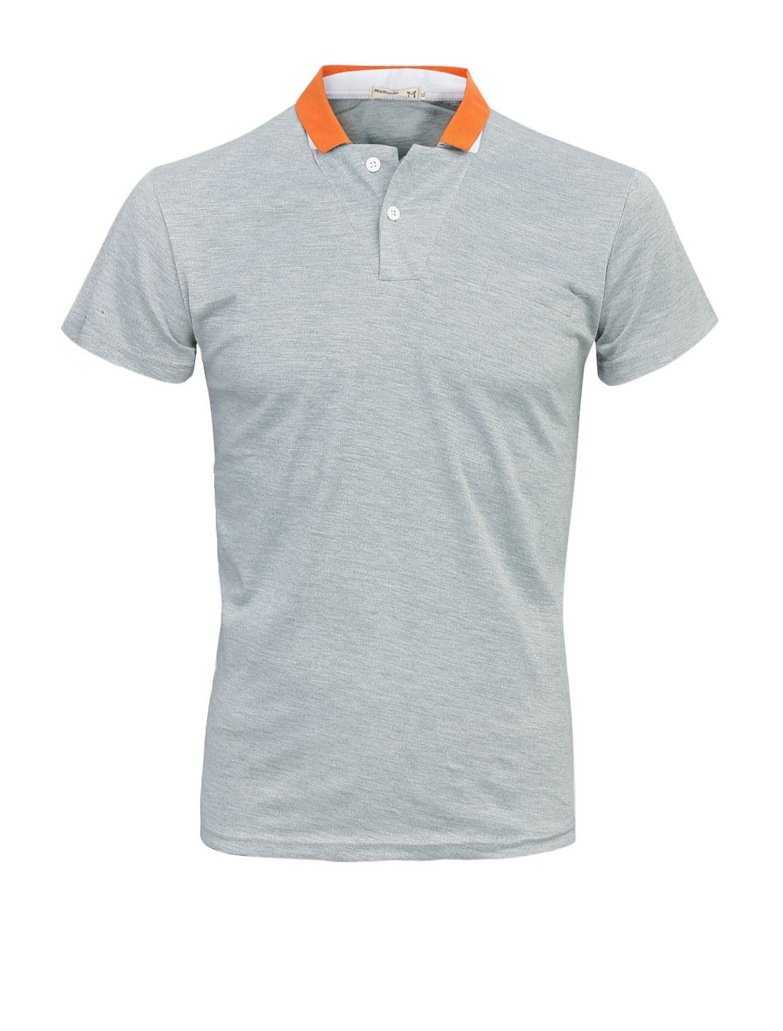 Men Two Buttons Closed Slipover Short Sleeve Polo Shirt Light Gray M