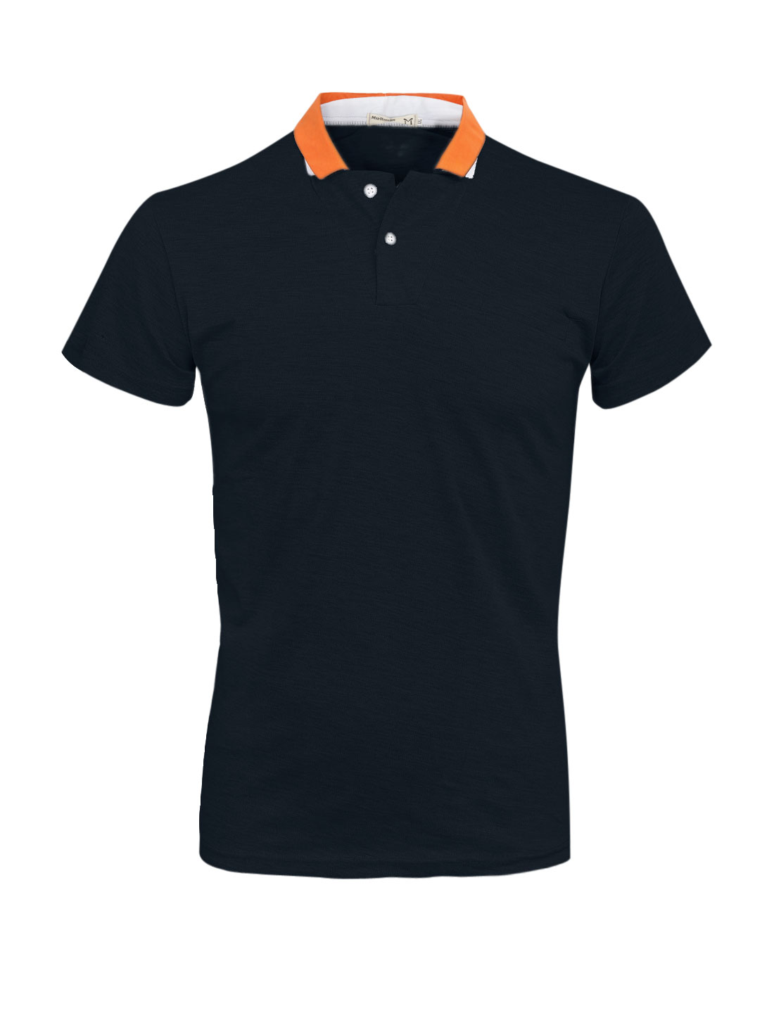 Men Mock Chest Pocket Slipover Short Sleeve Polo Shirt Navy Blue M