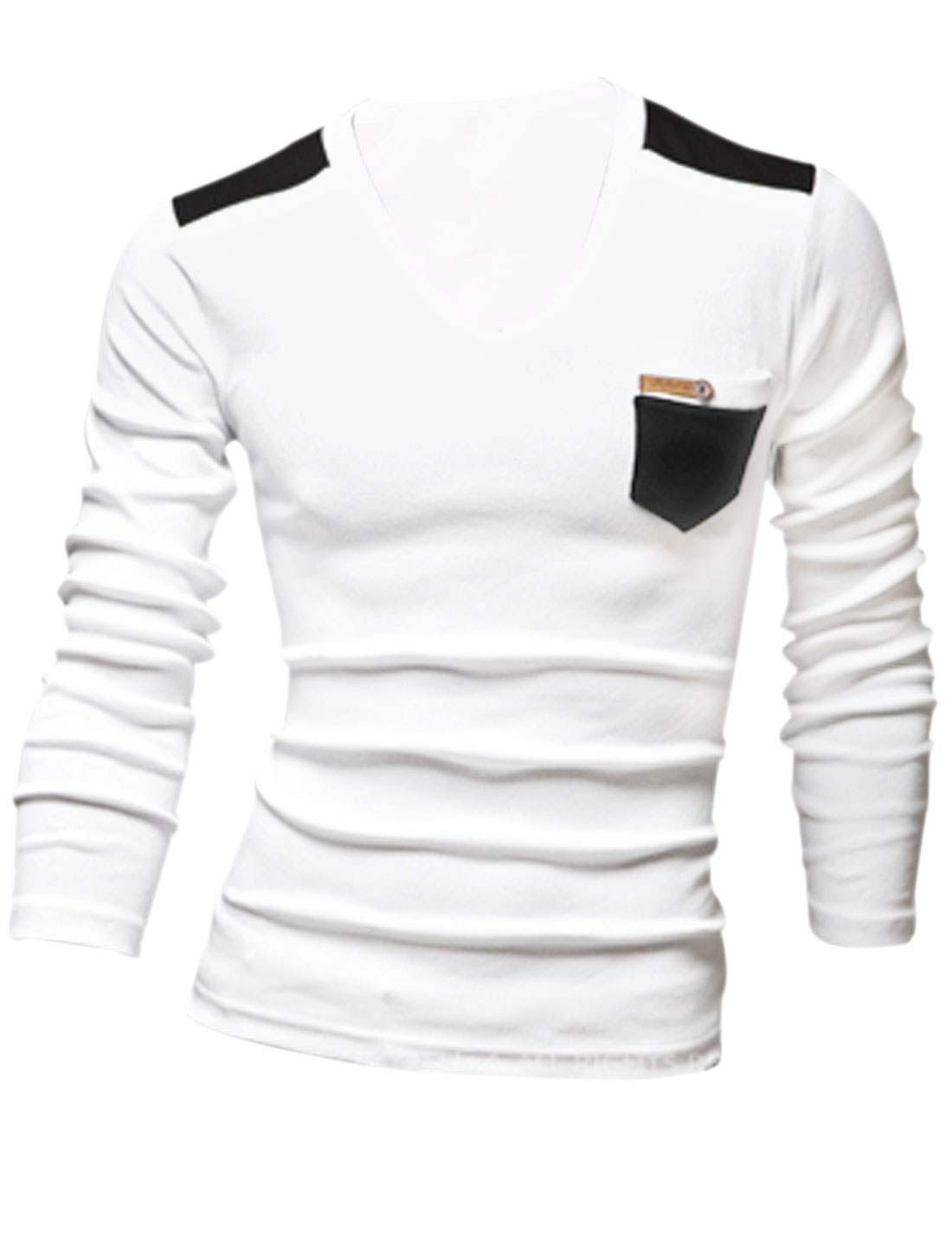 Men Cozy Fit V Neck Long Sleeve Chest Pocket Casual Shirt White M