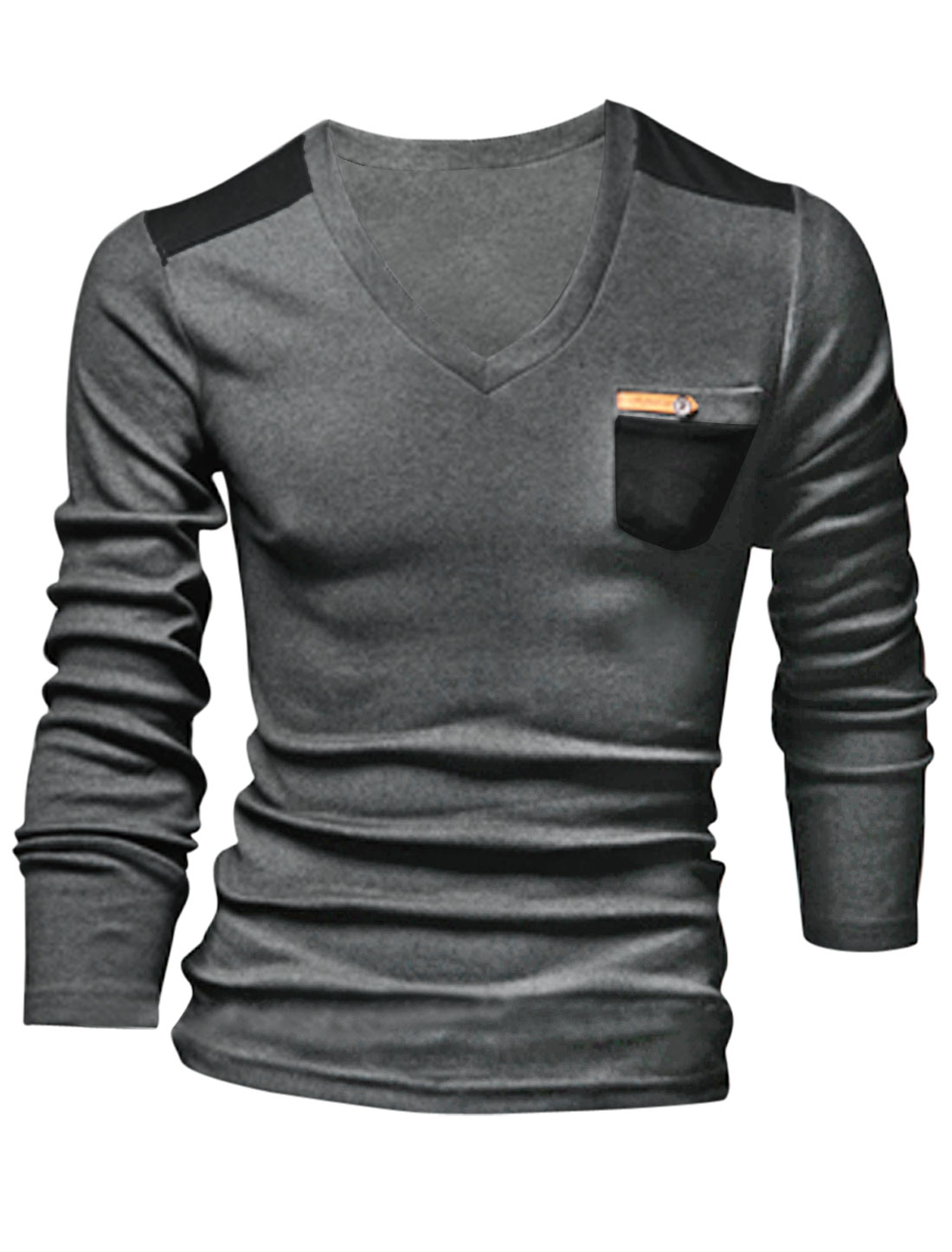 Men Cozy Fit One Chest Pocket Imitation Leather Decor Top Dark Gray M