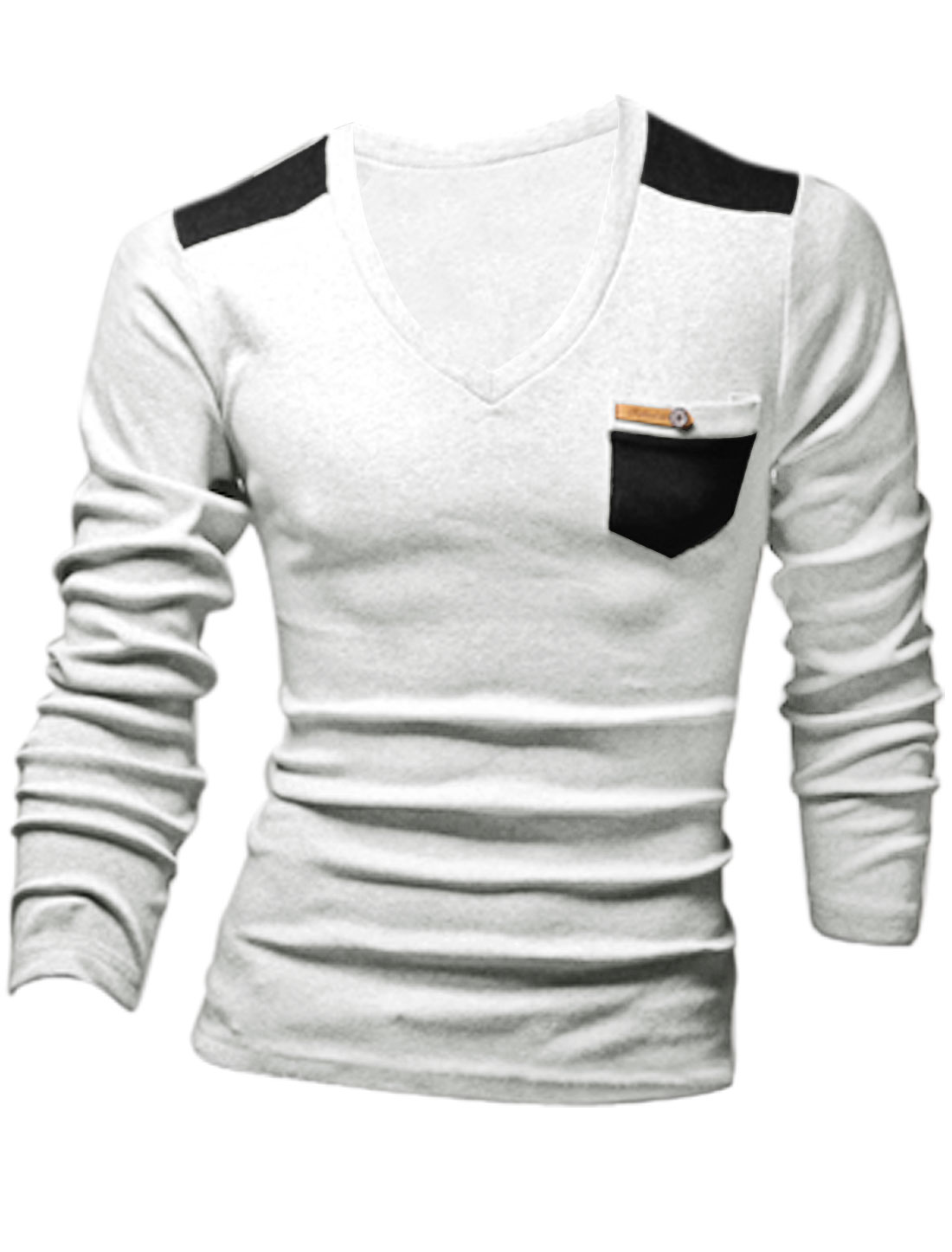 Men Cozy Fit Slipover Imitation Leather Decor Top Light Gray M