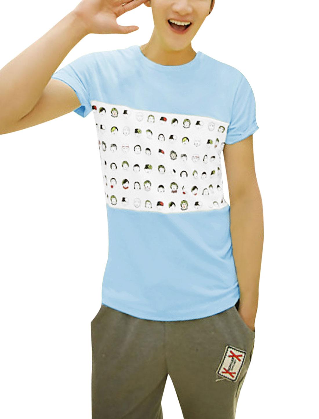 Man's Short Sleeve Round Neck Portrait Pattern Casual T Shirt Light Blue M