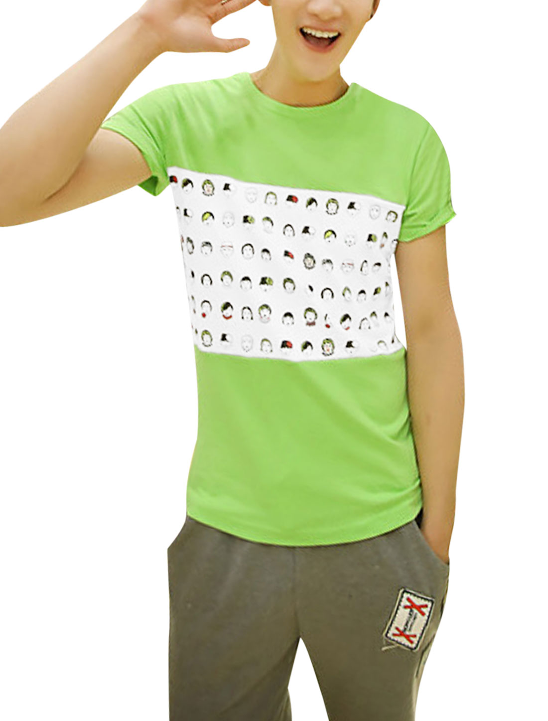 Man Portrait Pattern Panel Short Sleeve Casual Tee Shirt Light Green M