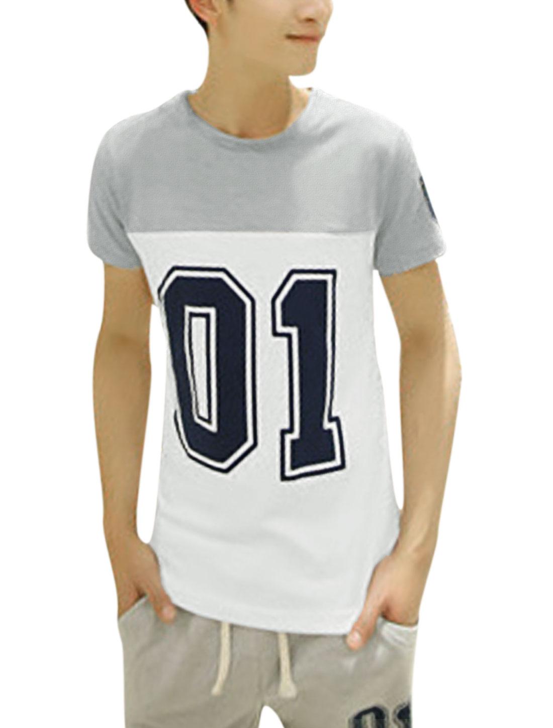 Men Short Sleeve Number Prints Panel Design Coloblock T-Shirt Gray White M