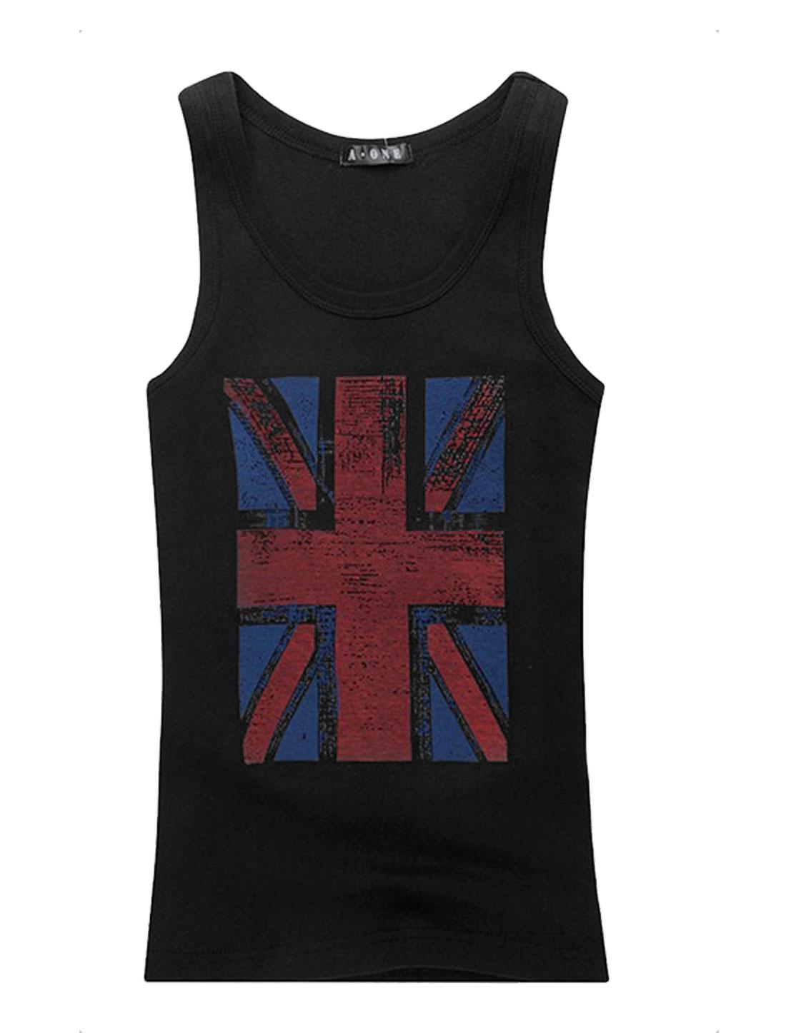 Men U Neck Sleeveless British Flag Prints Tank Top Black S