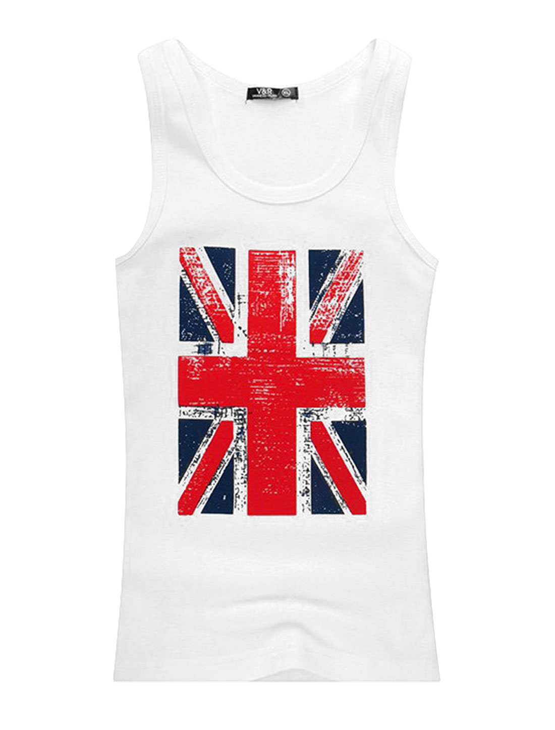 Men U Neck Sleeveless British Flag Prints Soft Tank Top White S