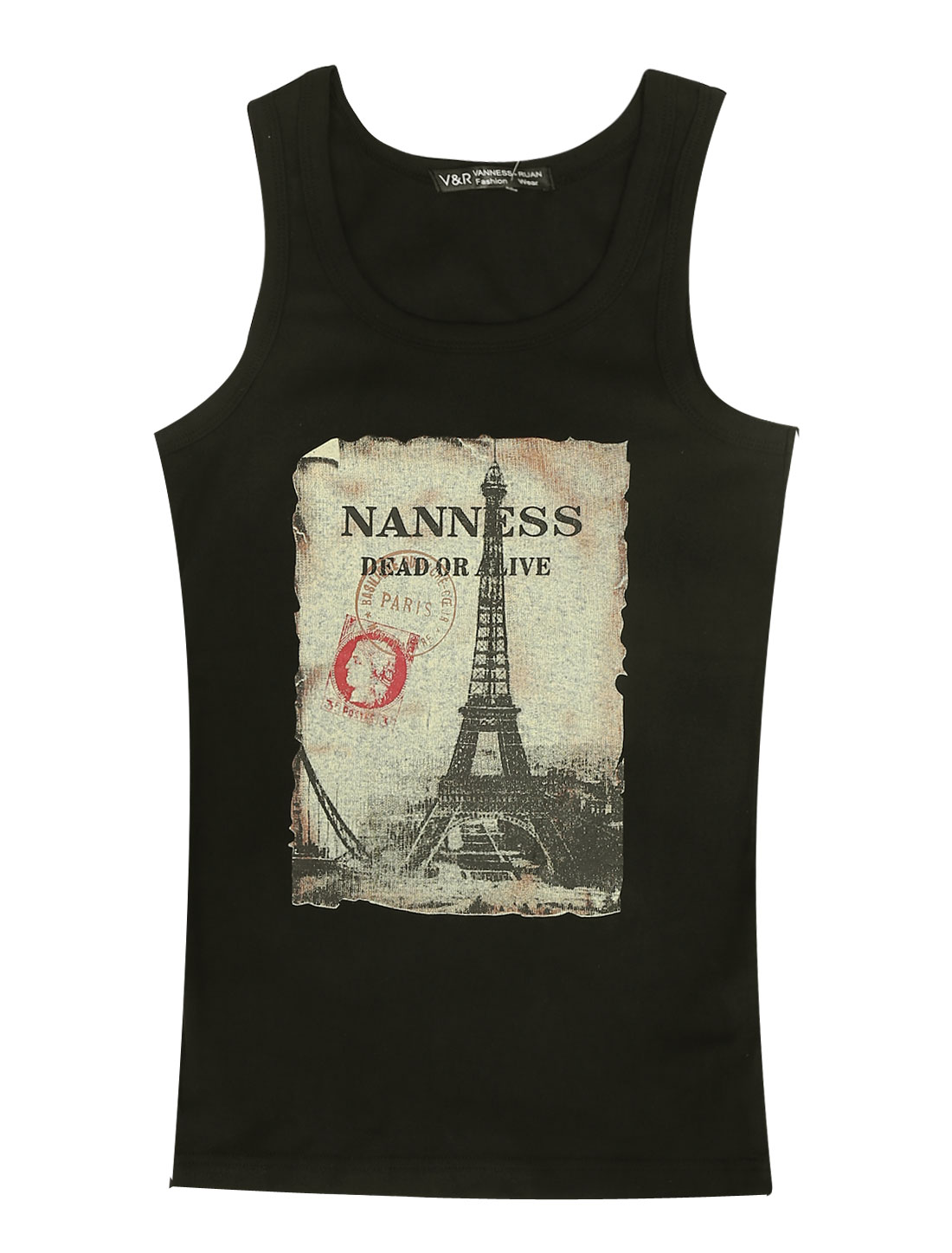 Men U Neck Sleeveless Eiffel Tower Prints Slim Fit Tank Top Black S