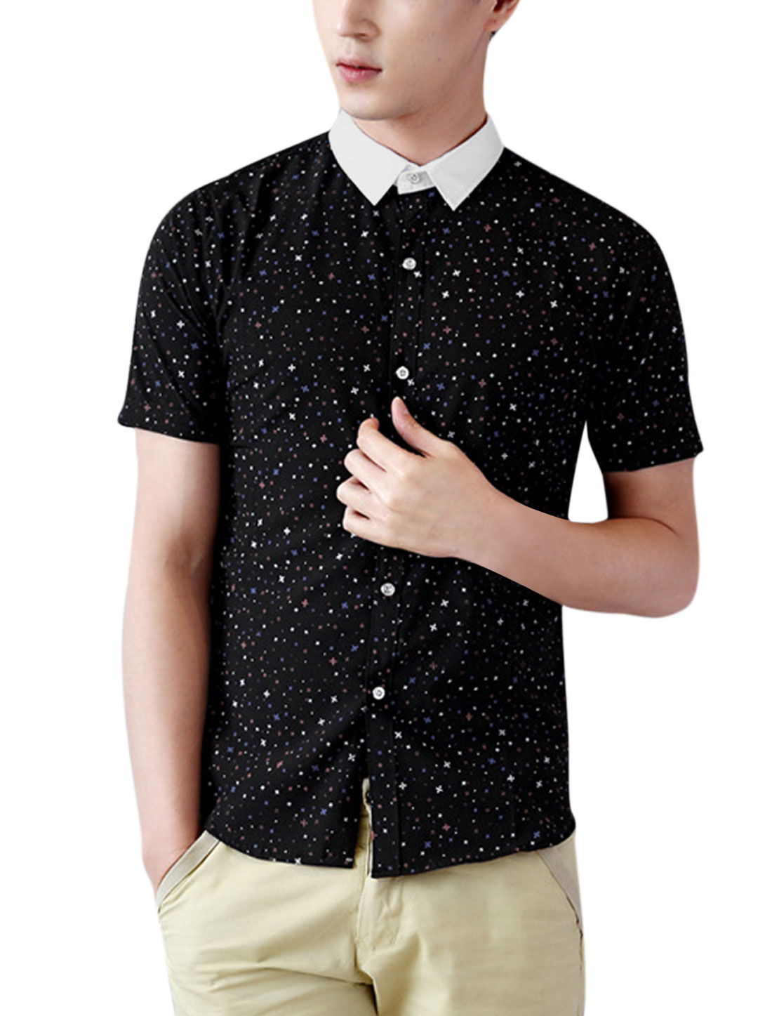 Men Single Breasted Snowflake Printed Casual Shirt Black M