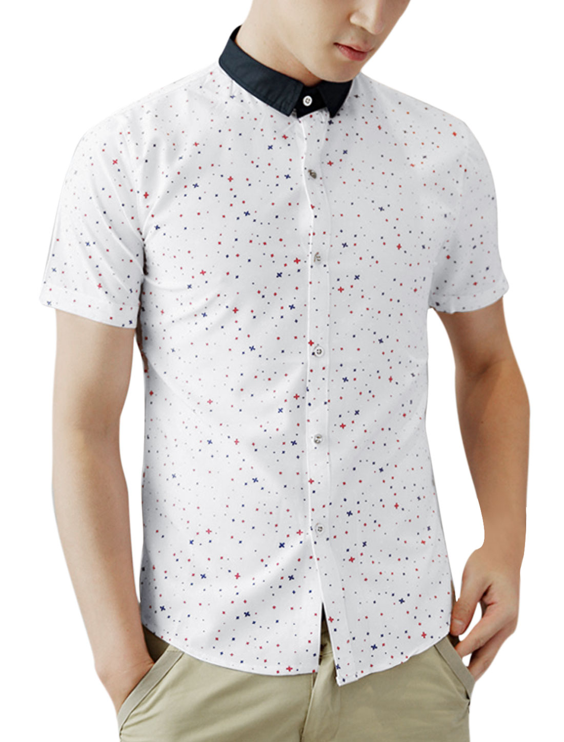 Men Point Collar Snowflake Printed Casual Shirt White M