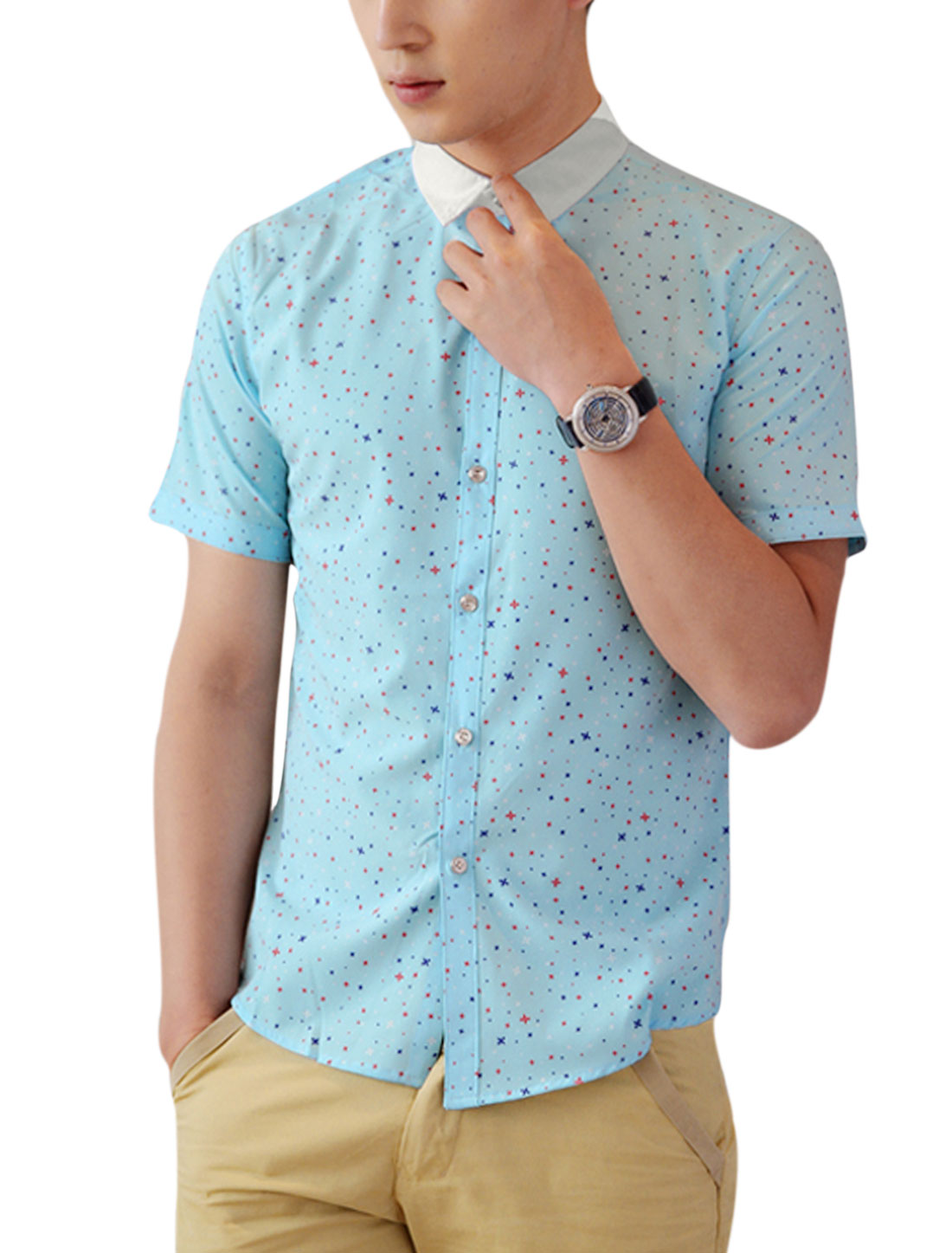 Men Short Sleeve Buttons Up Front Casual Shirt Light Blue M