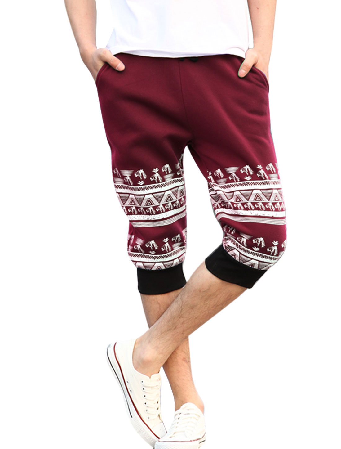 Men Drawstring Ribbed Waist Horse Head Printed NEW Capris Pants Burgundy W30