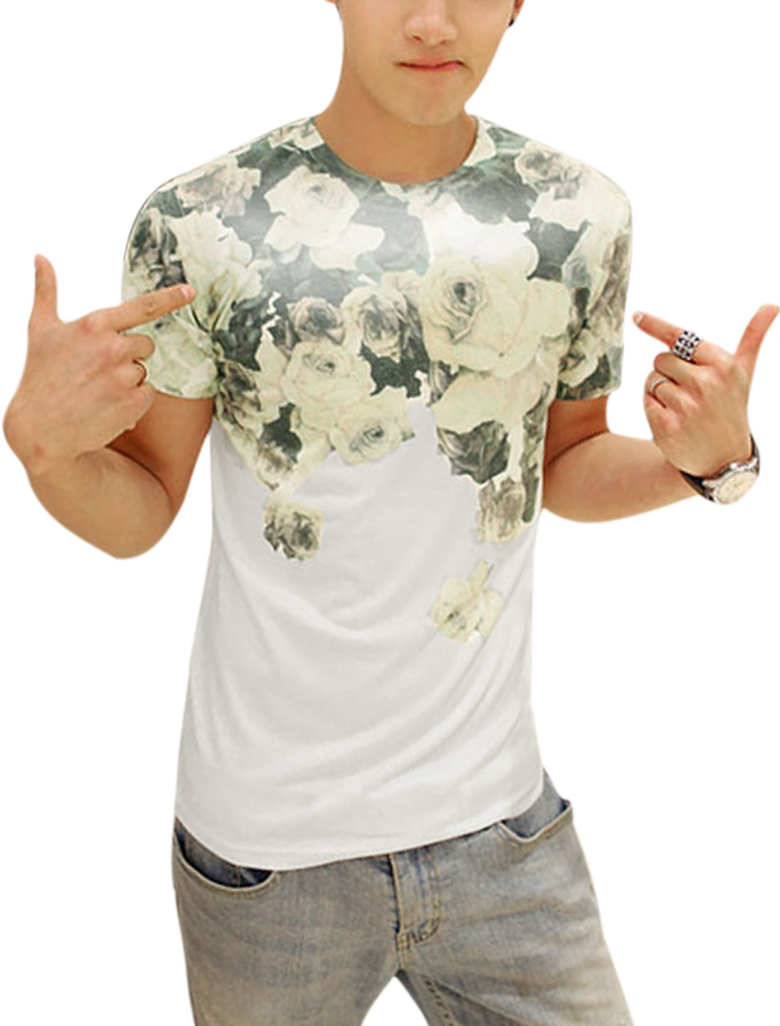 Men Casual Short Sleeve Rose Floral Prints T-Shirt White S