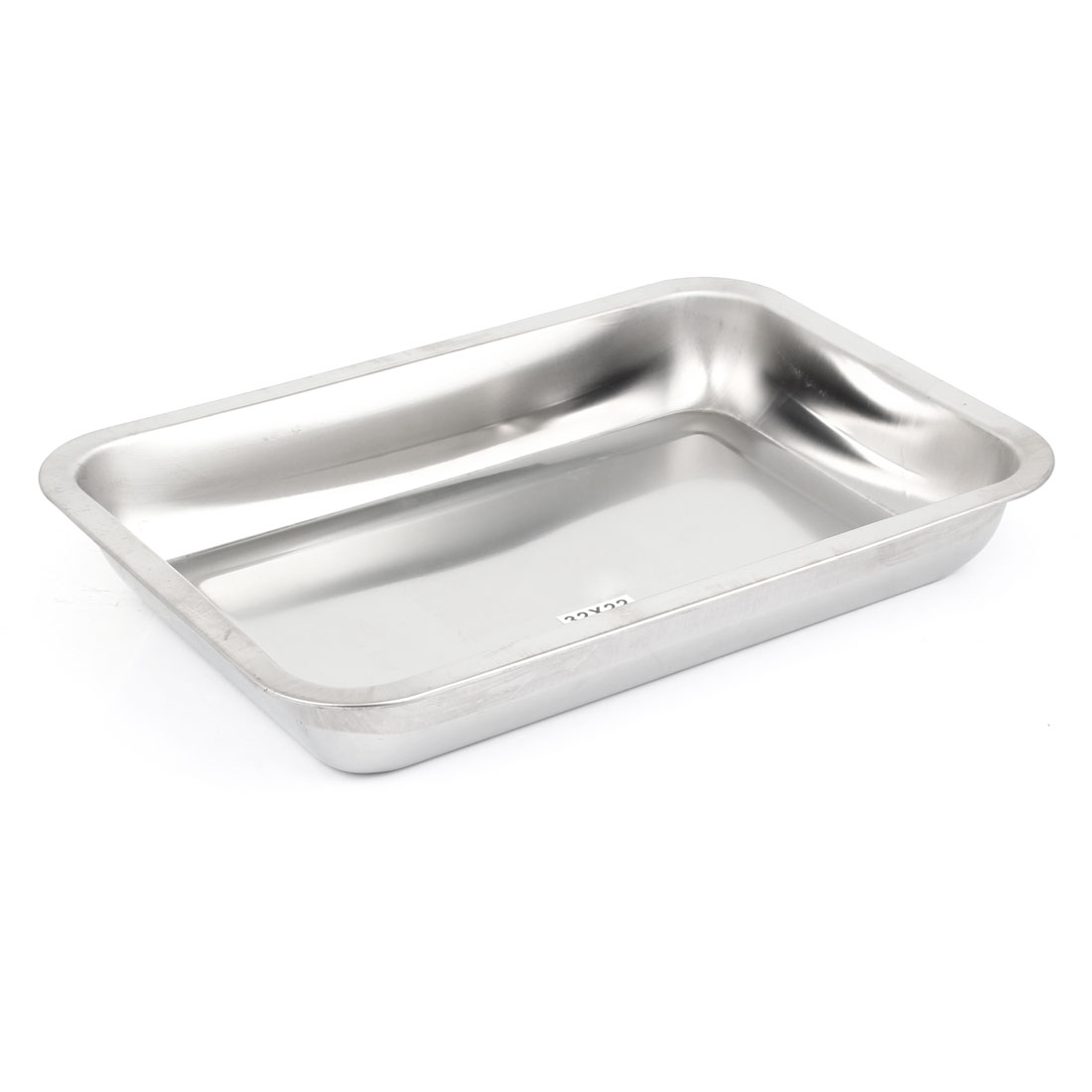 Rectangle Shape Stainless Steel Food Medicine Plate Tray 32 x 22cm