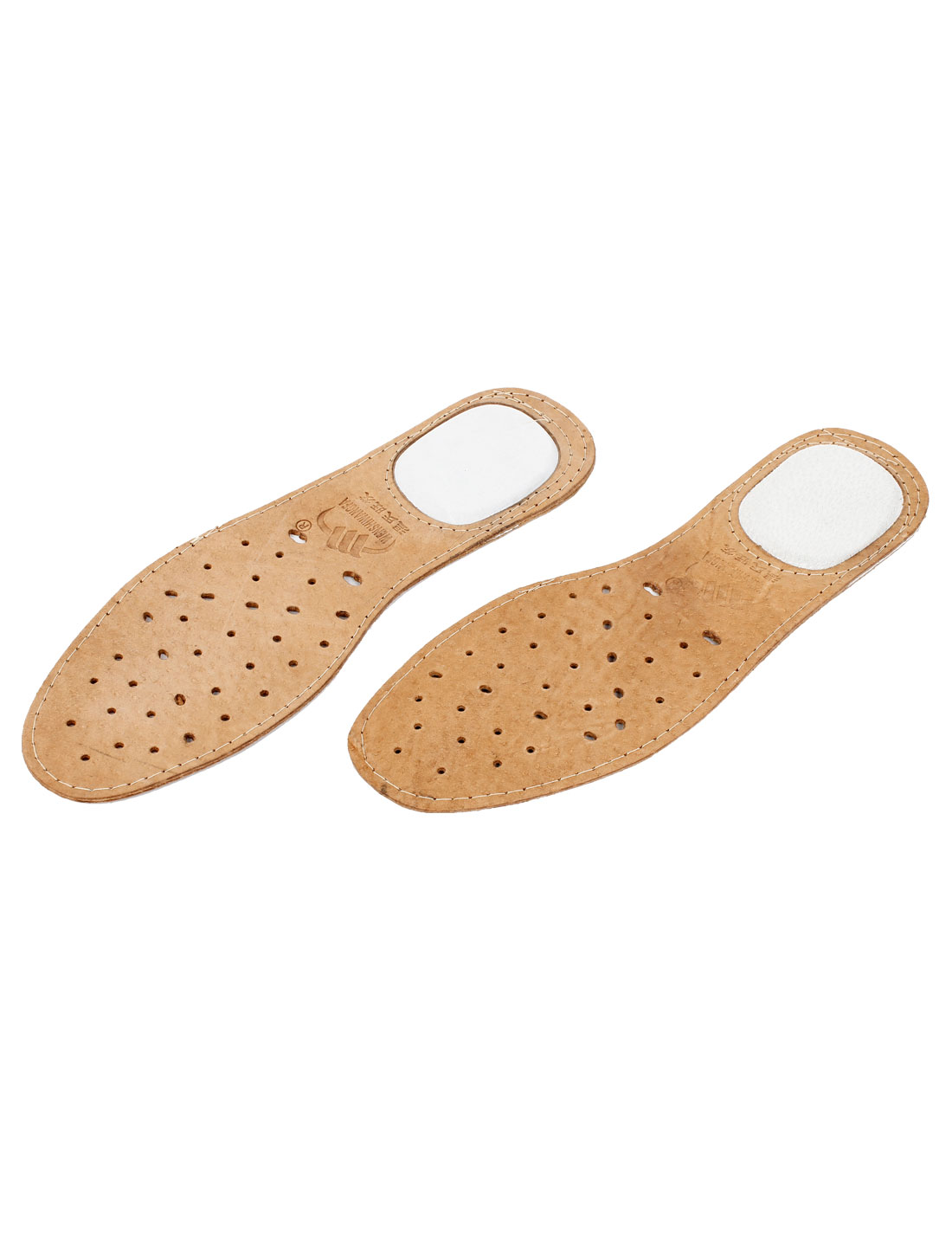 Pair Brown Faux Leather Hole Design Insoles Shoe Pads US 8.5 for Man