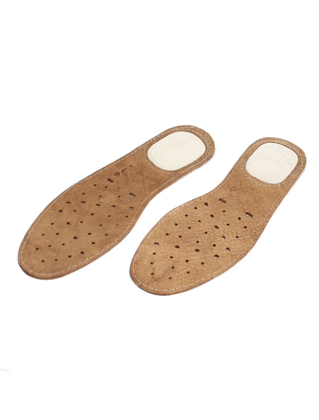 Pair Brown Faux Leather Hole Style Insoles Shoe Pads US 9.5 EU 43 for Man