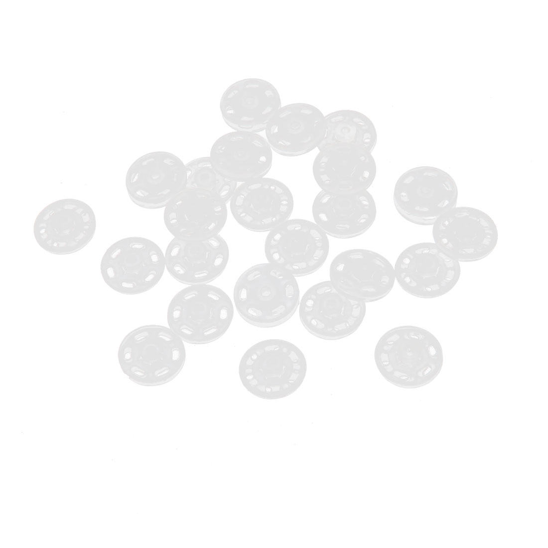 Clothes Replacement Parts Plastic Press Fastener Buttons White 24Pcs