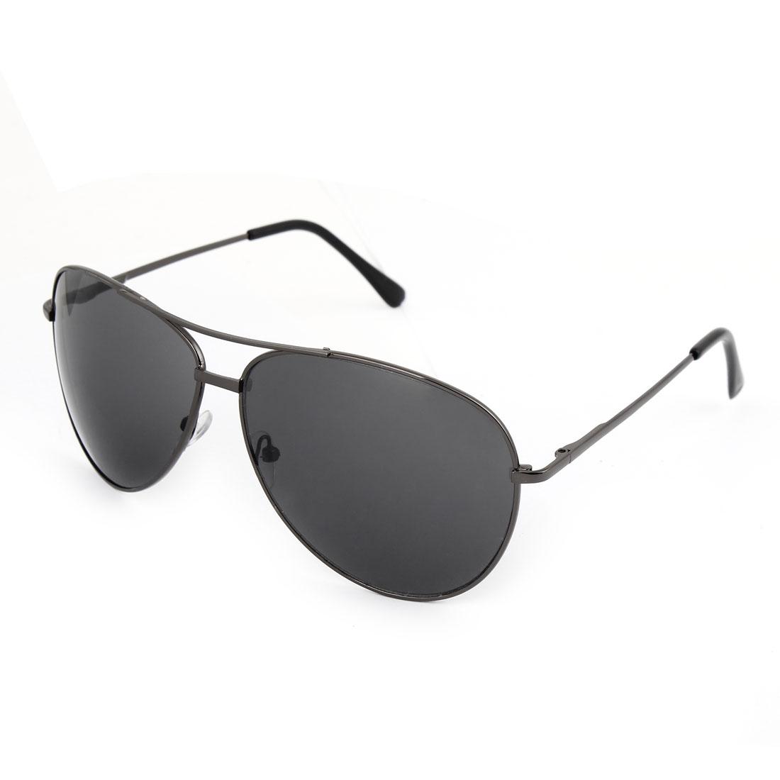 Teardrop Lens Double Bridge Full Rim Sunglasses Gray Black for Men