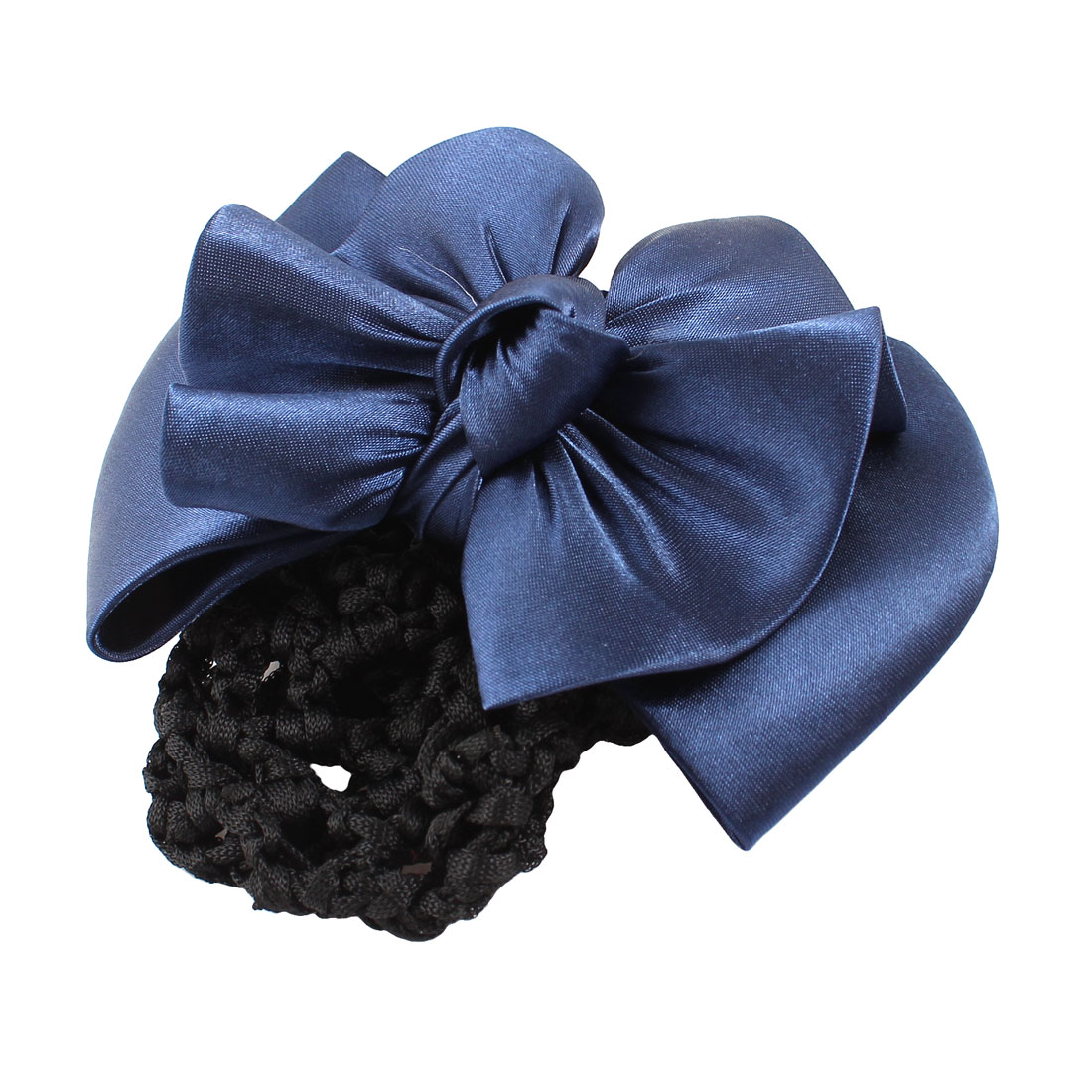 Woman Accessory Royal Blue Bowknot Detail Snood Net French Hair Clip