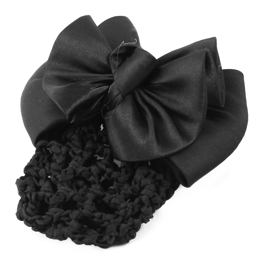 Ladies Hairdressing Bowtie Accent Barrette Hair Clip Snood Net Black